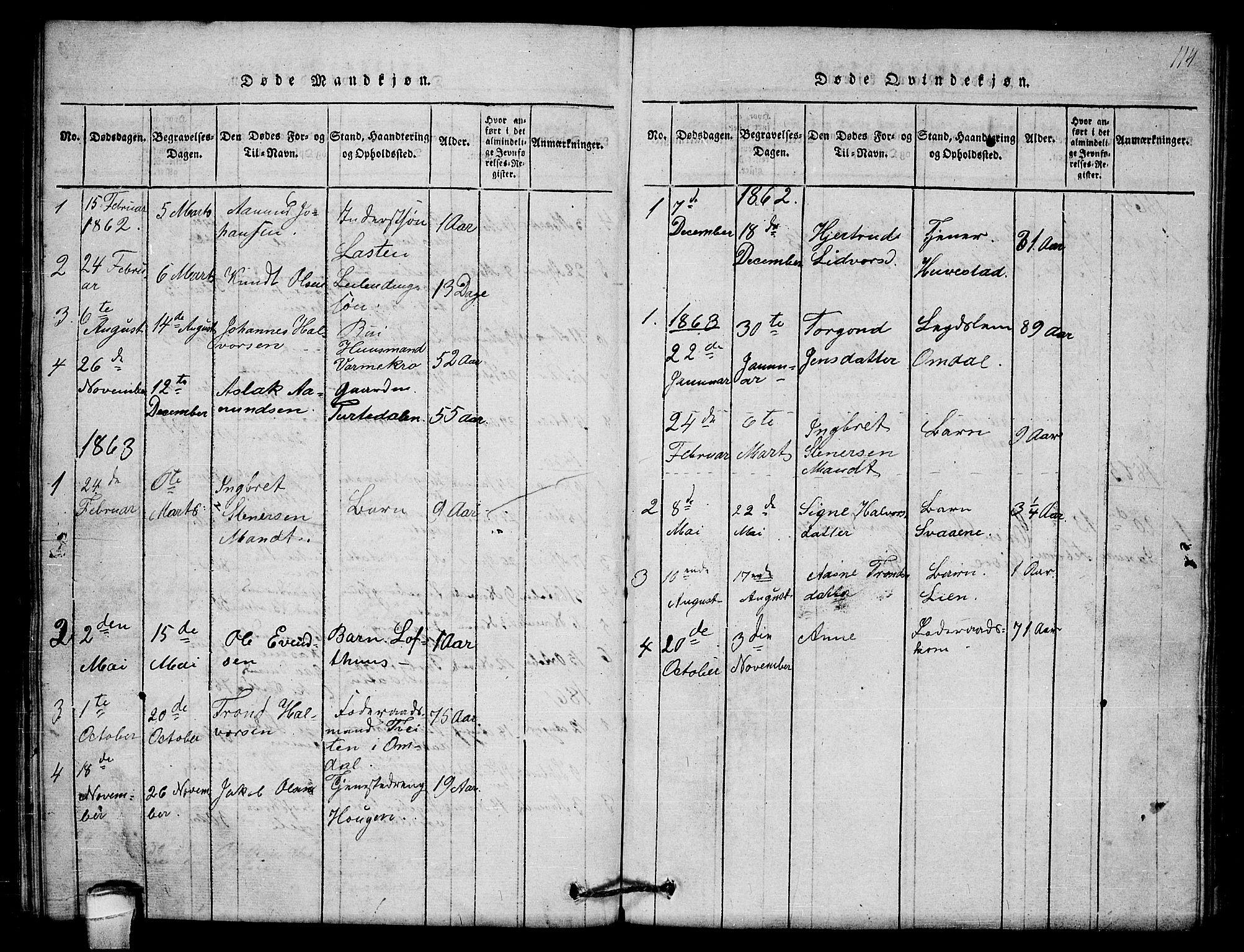 SAKO, Lårdal kirkebøker, G/Gb/L0001: Klokkerbok nr. II 1, 1815-1865, s. 114