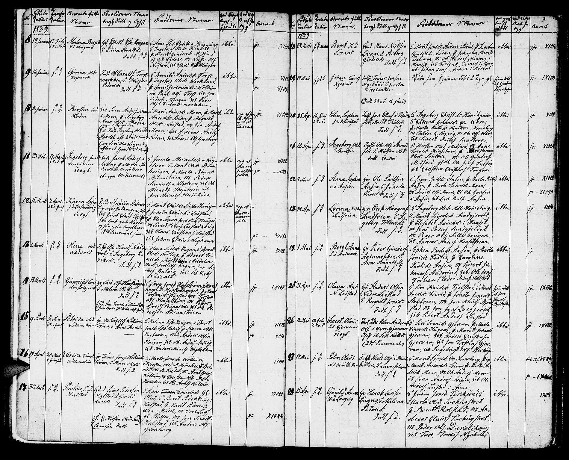 SAT, Ministerialprotokoller, klokkerbøker og fødselsregistre - Sør-Trøndelag, 616/L0421: Klokkerbok nr. 616C04, 1834-1850, s. 9