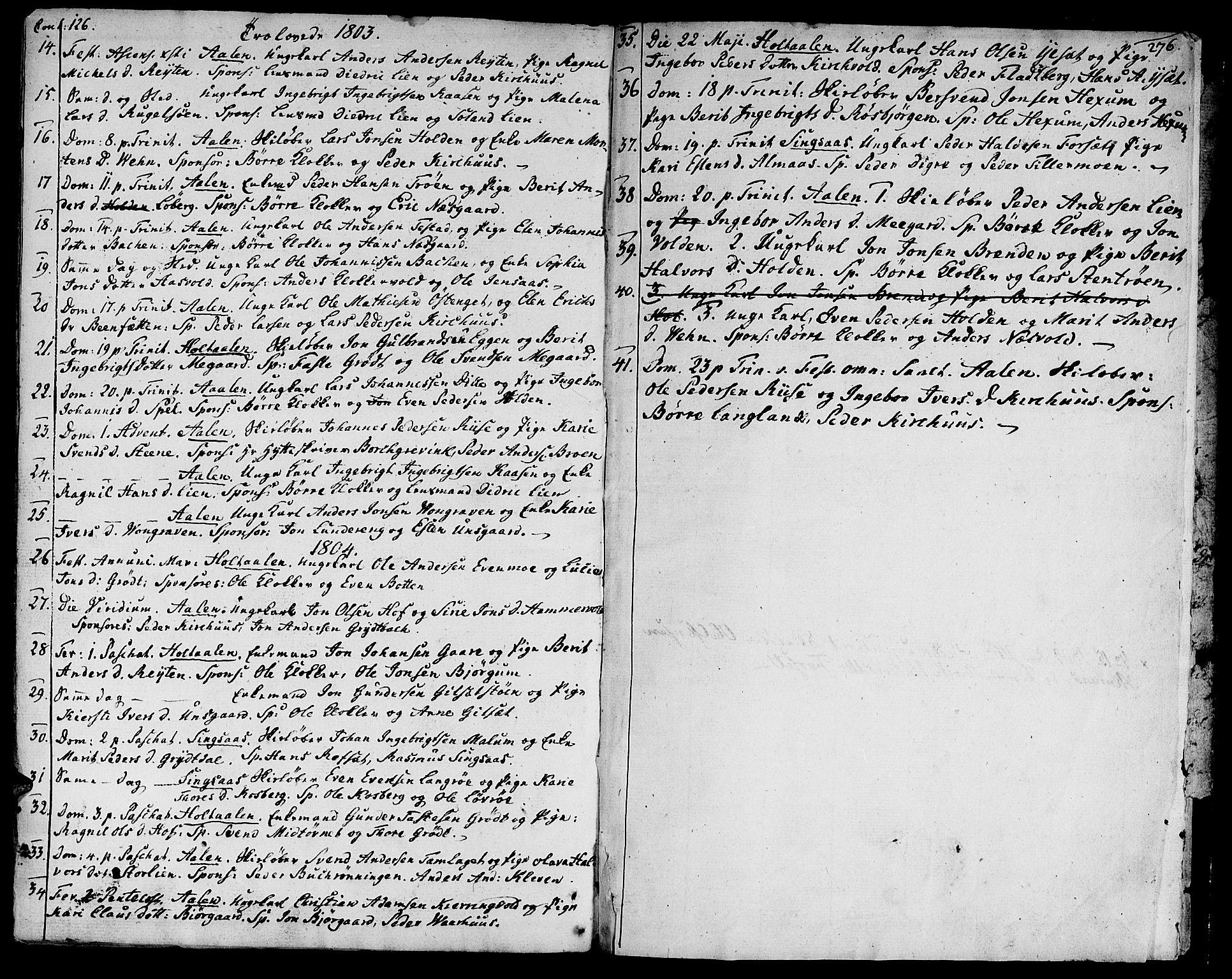 SAT, Ministerialprotokoller, klokkerbøker og fødselsregistre - Sør-Trøndelag, 685/L0952: Ministerialbok nr. 685A01, 1745-1804, s. 276