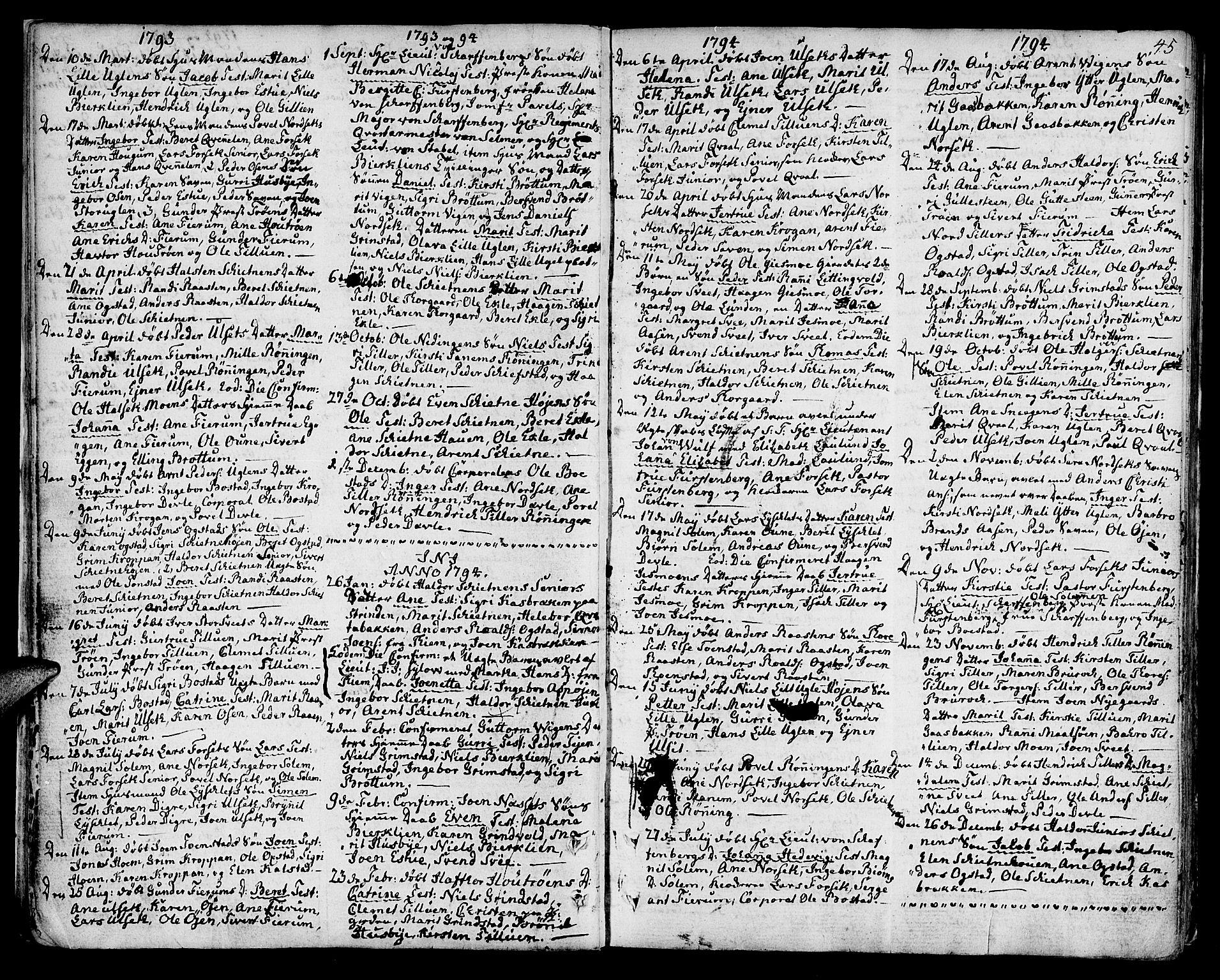 SAT, Ministerialprotokoller, klokkerbøker og fødselsregistre - Sør-Trøndelag, 618/L0438: Ministerialbok nr. 618A03, 1783-1815, s. 45