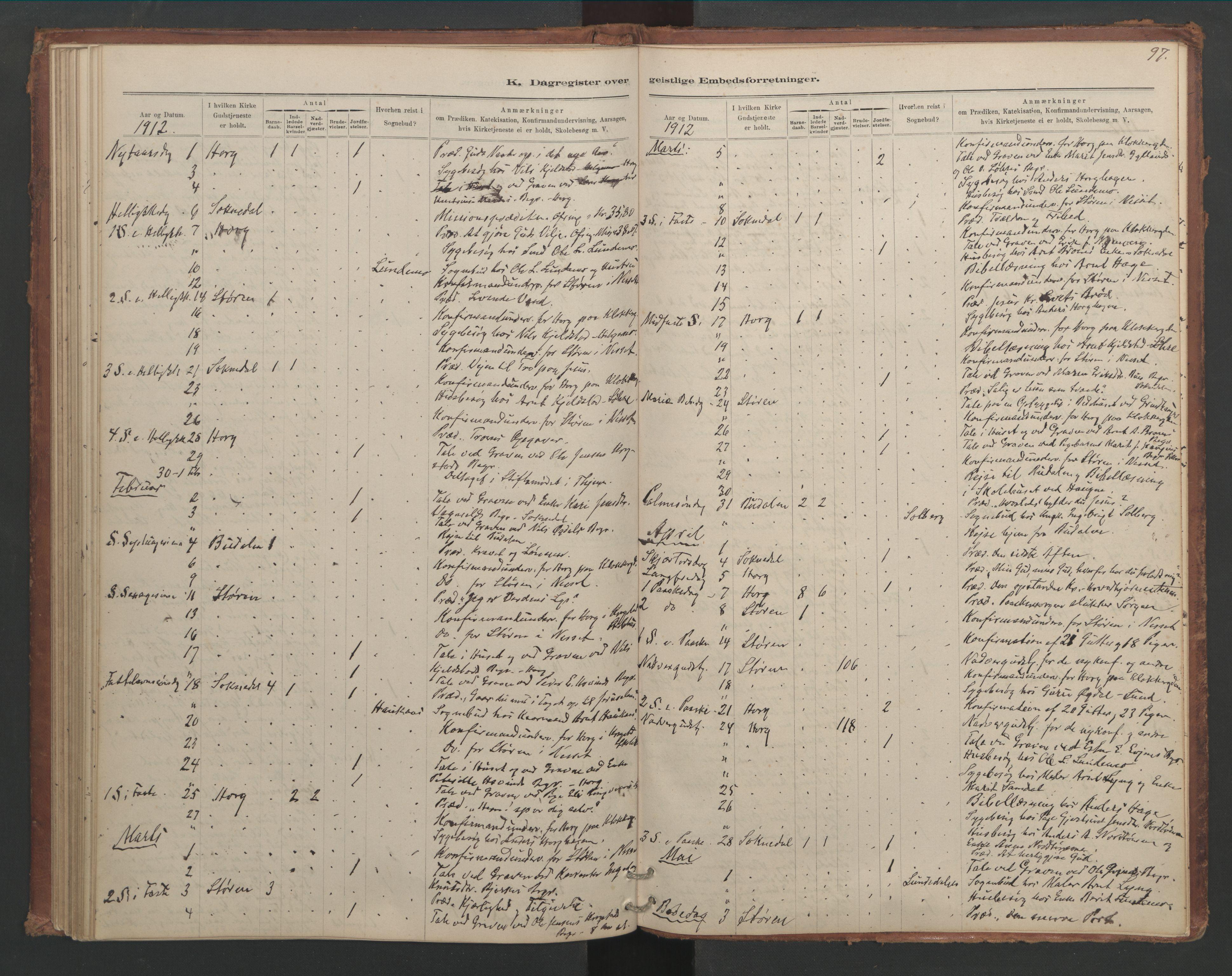 SAT, Ministerialprotokoller, klokkerbøker og fødselsregistre - Sør-Trøndelag, 687/L1012: Dagregister nr. 687B01, 1887-1914, s. 97