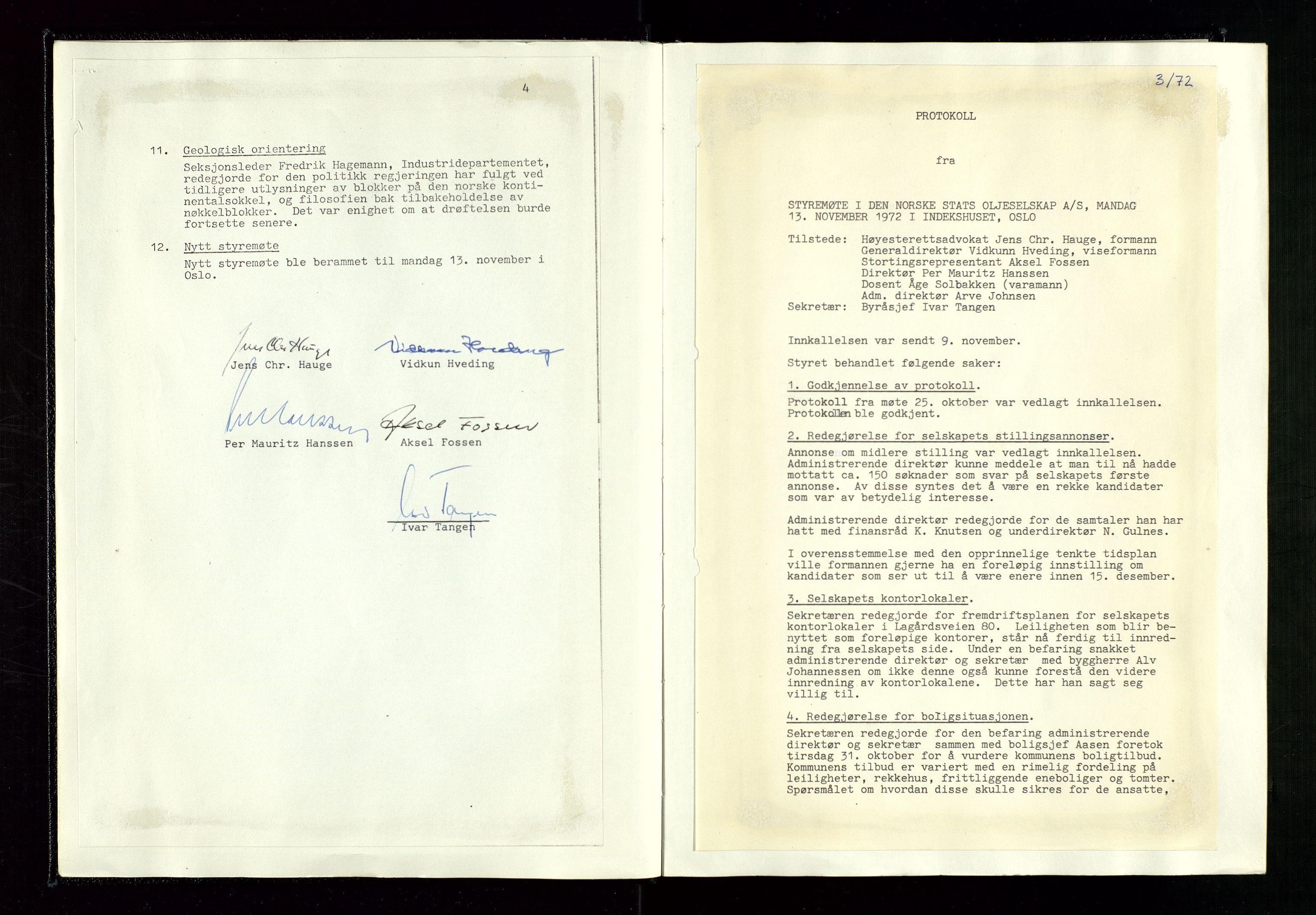 SAST, Pa 1339 - Statoil ASA, A/Ab/Aba/L0001: Styremøteprotokoller, 05.10.1972 til 14.12.1978, 1972-1978, s. 12