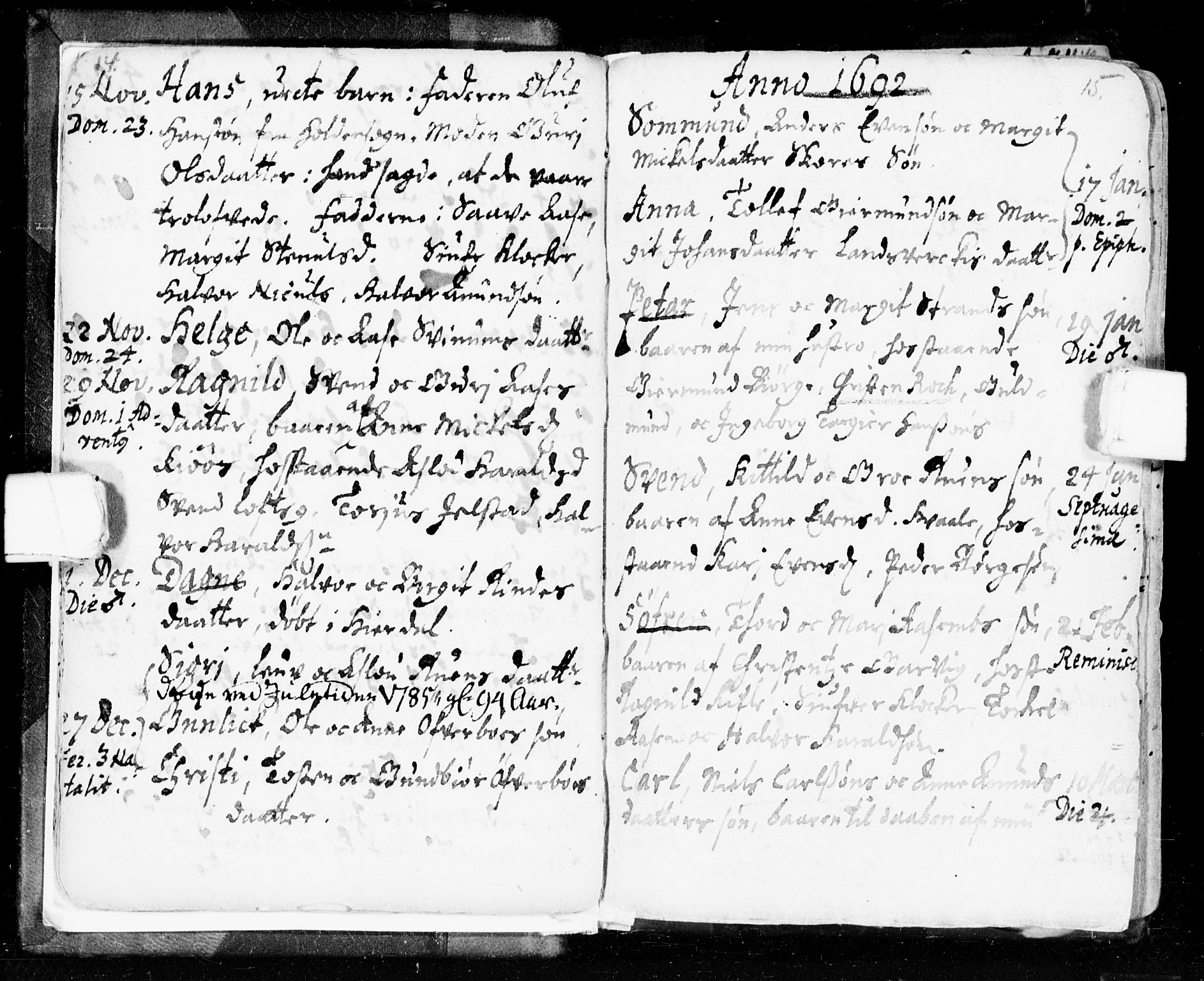 SAKO, Seljord kirkebøker, F/Fa/L0002: Ministerialbok nr. I 2, 1689-1713, s. 14-15