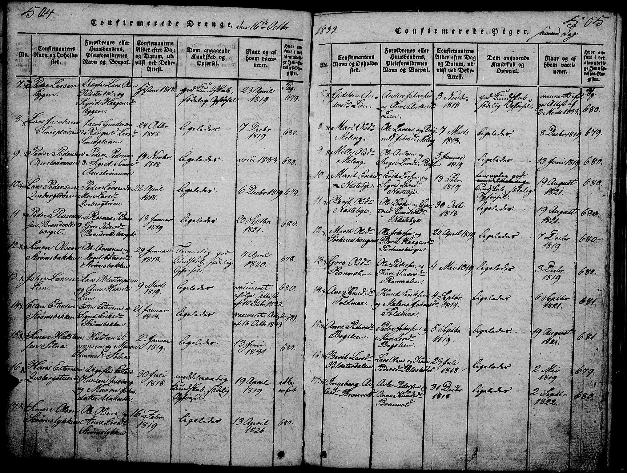 SAH, Tynset prestekontor, Klokkerbok nr. 2, 1814-1862, s. 504-505