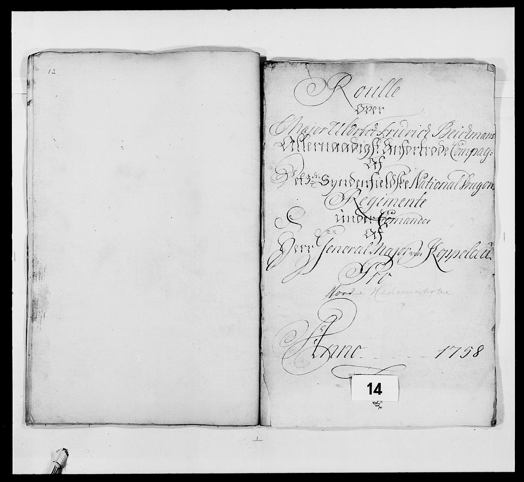 RA, Kommanderende general (KG I) med Det norske krigsdirektorium, E/Ea/L0479: 3. Sønnafjelske dragonregiment, 1756-1760, s. 260
