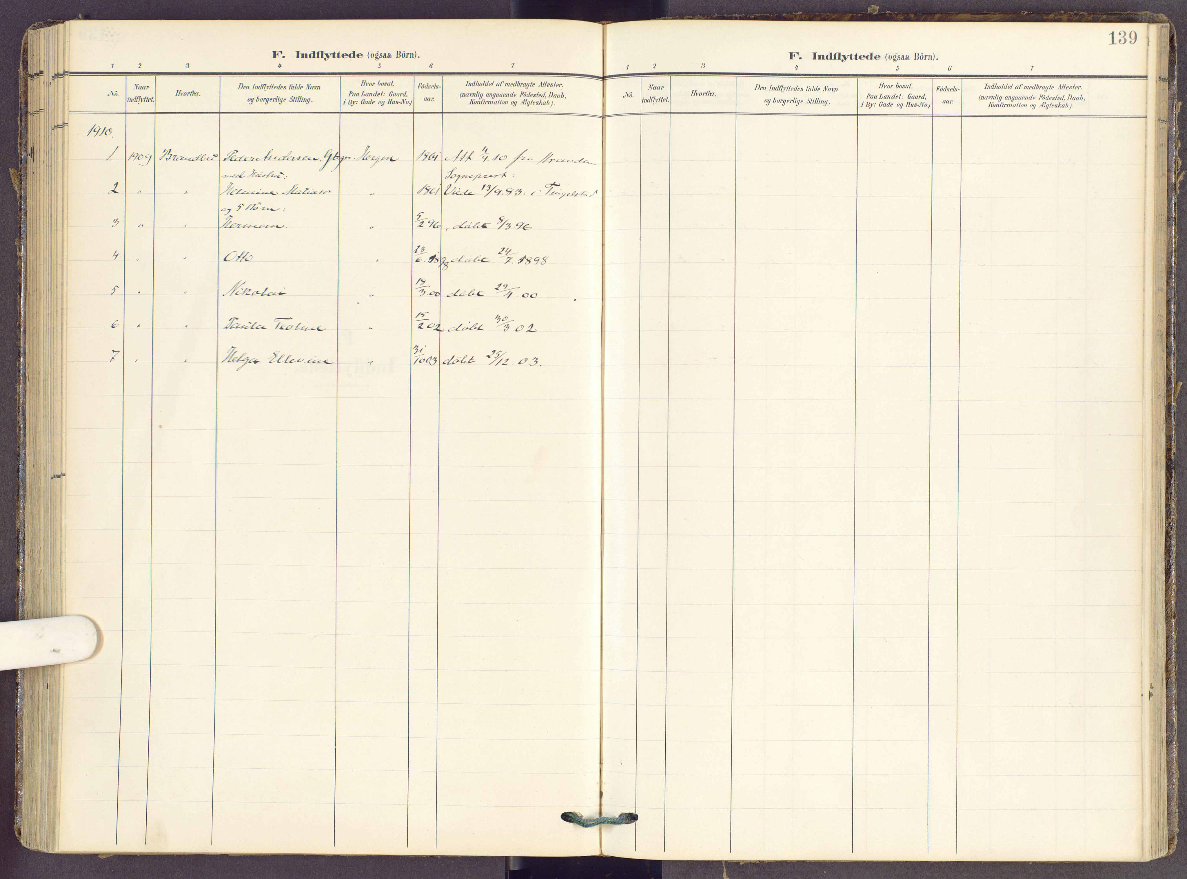 SAH, Gran prestekontor, Ministerialbok nr. 22, 1908-1918, s. 139