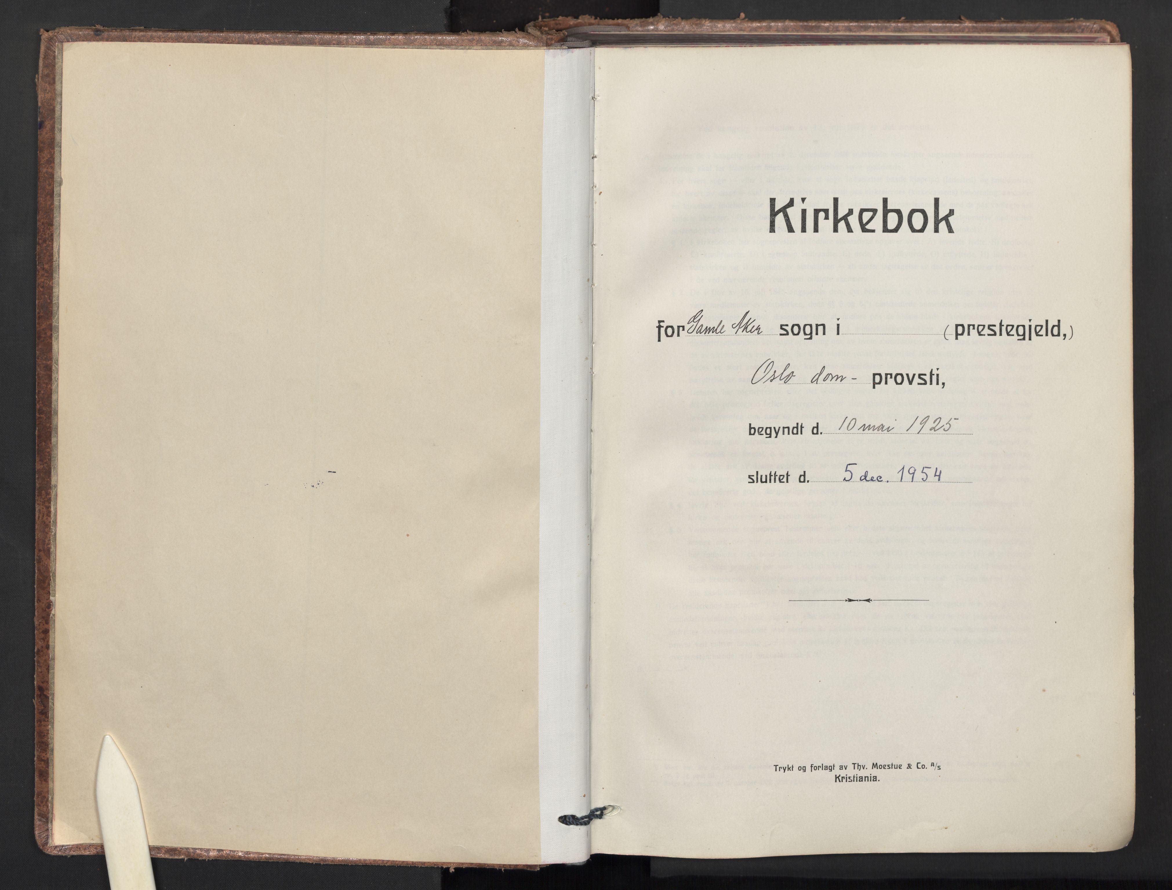 SAO, Gamle Aker prestekontor Kirkebøker, F/L0019: Ministerialbok nr. 19, 1925-1954