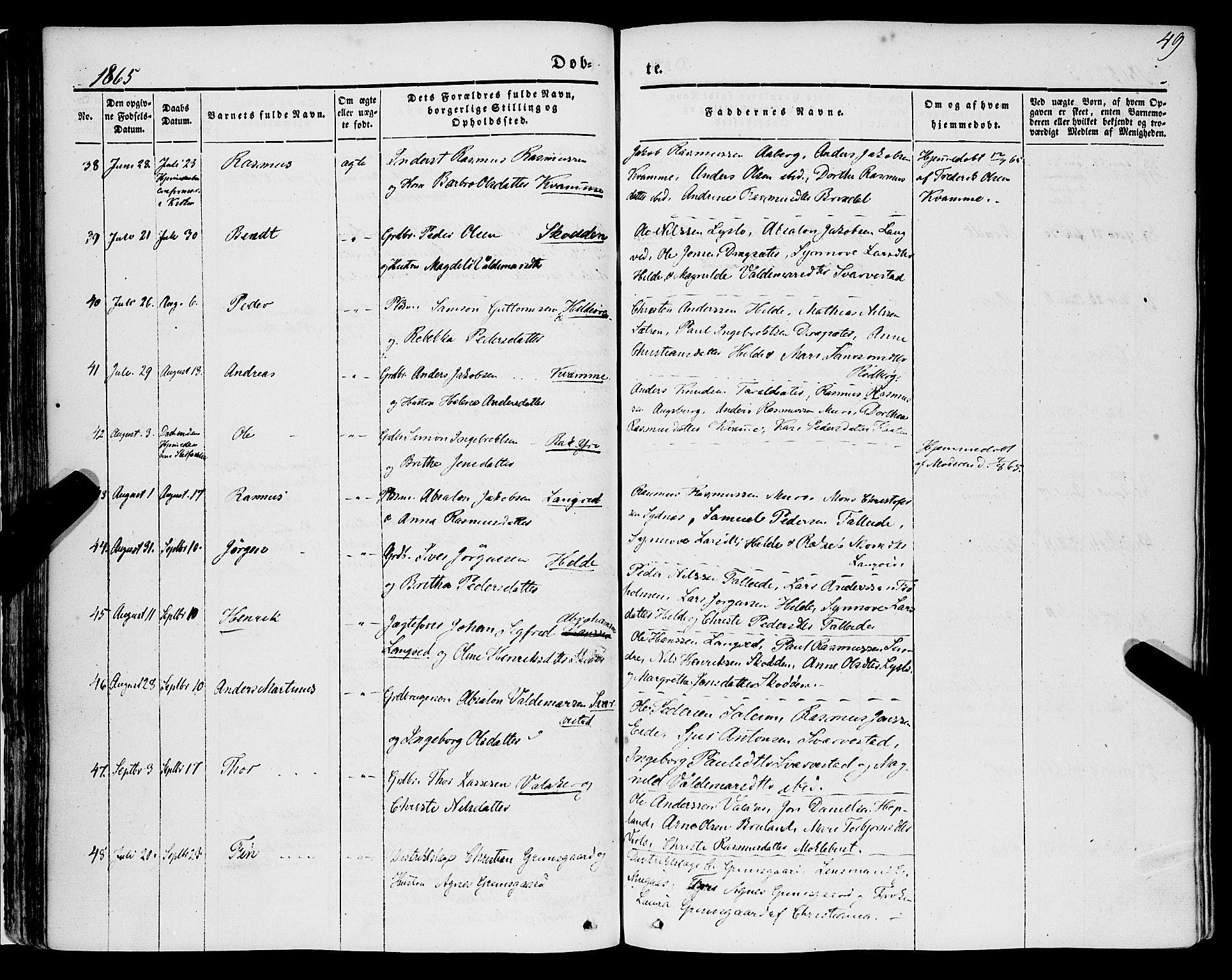 SAB, Innvik Sokneprestembete, Ministerialbok nr. A 5, 1847-1865, s. 49