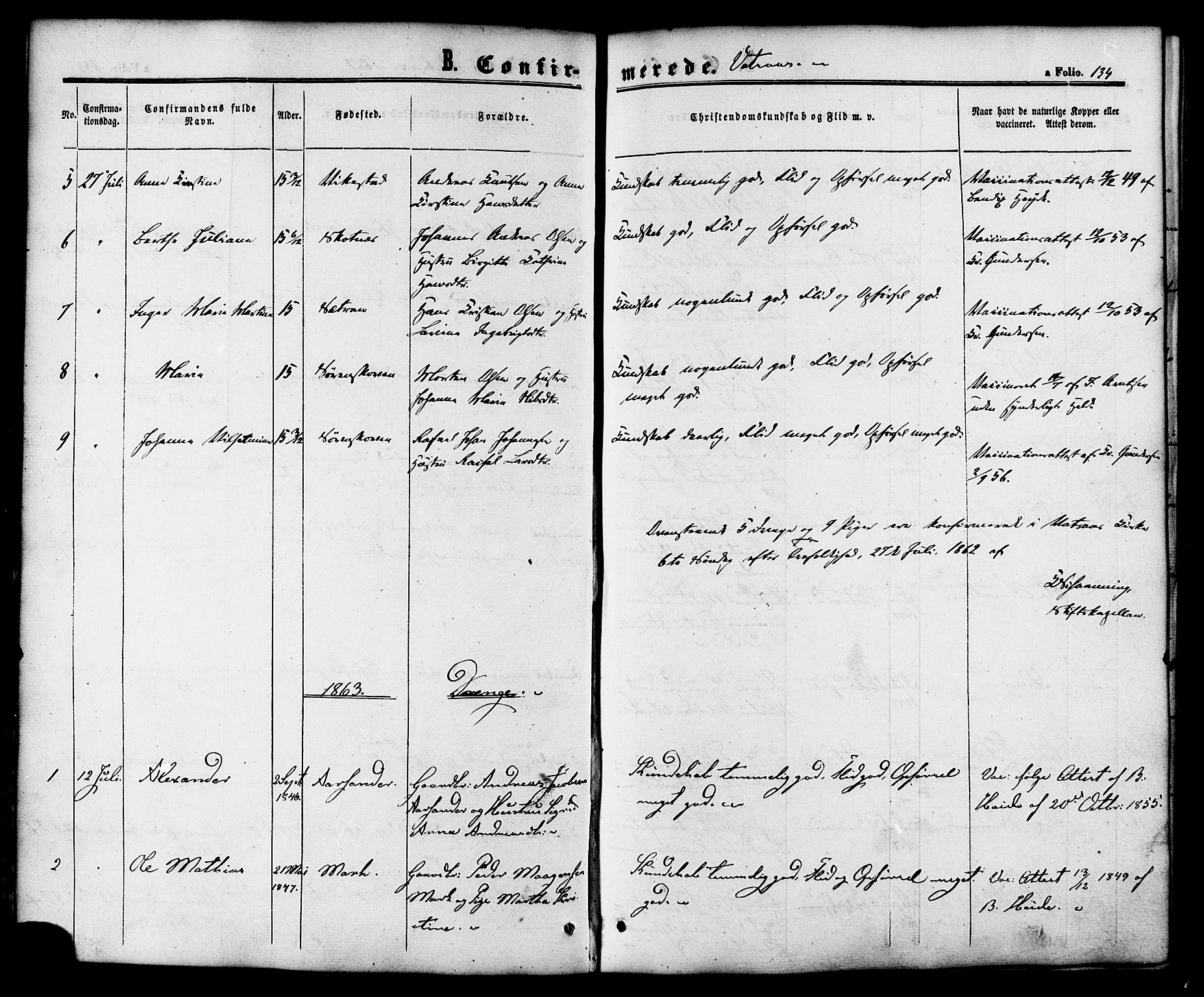 SAT, Ministerialprotokoller, klokkerbøker og fødselsregistre - Nordland, 810/L0146: Ministerialbok nr. 810A08 /1, 1862-1874, s. 134