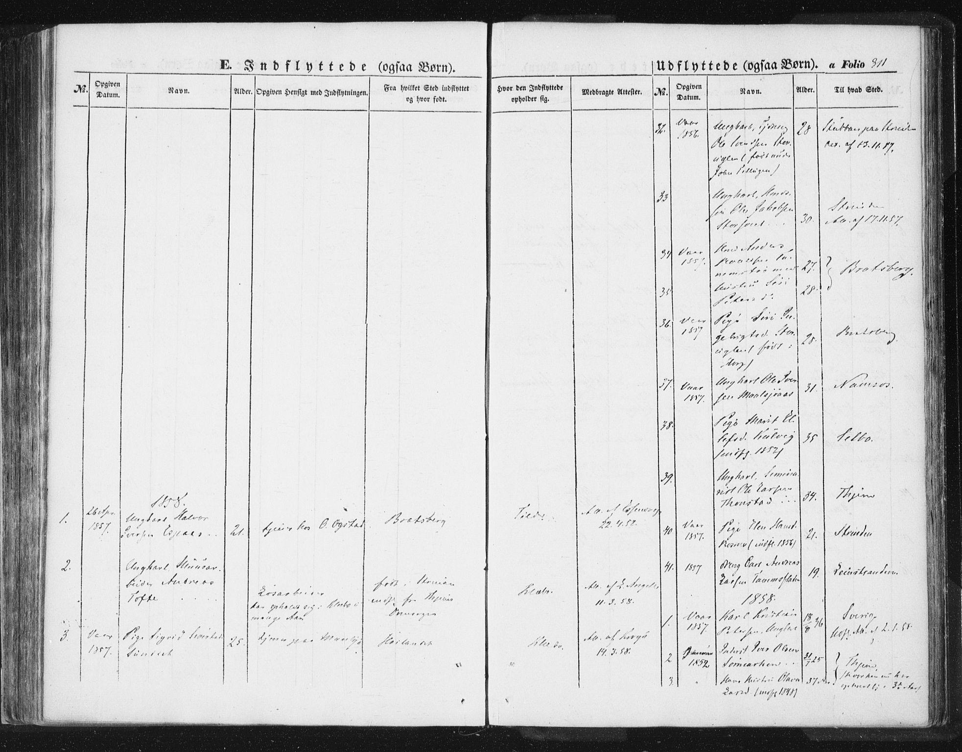 SAT, Ministerialprotokoller, klokkerbøker og fødselsregistre - Sør-Trøndelag, 618/L0441: Ministerialbok nr. 618A05, 1843-1862, s. 311