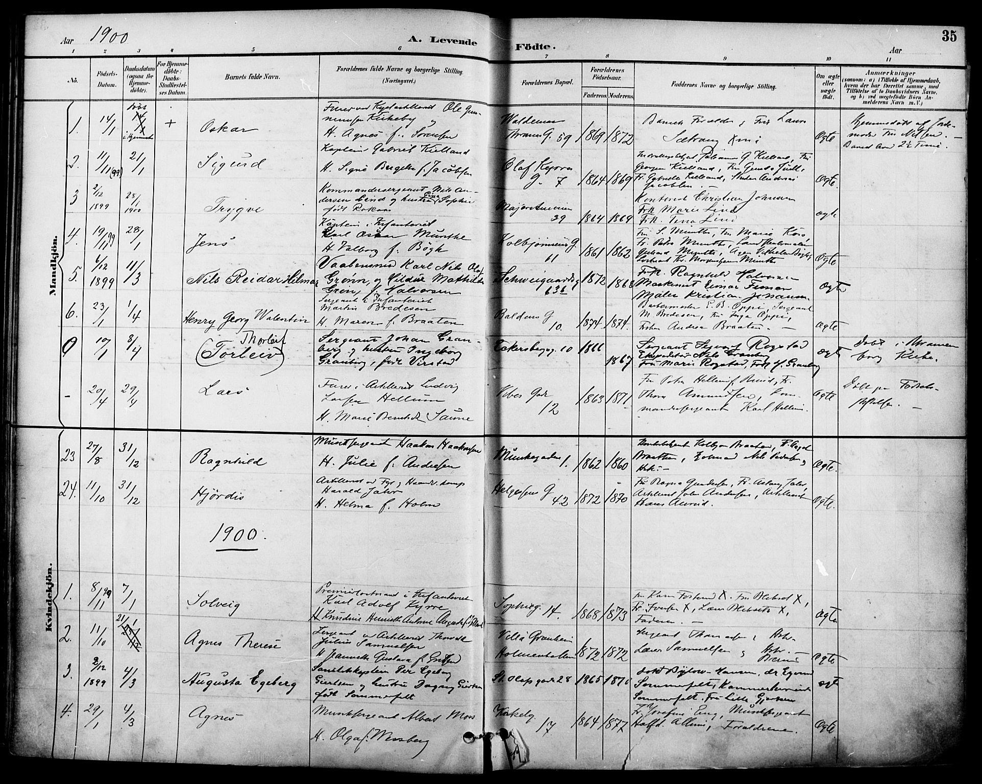 SAO, Garnisonsmenigheten Kirkebøker, F/Fa/L0013: Ministerialbok nr. 13, 1894-1904, s. 35