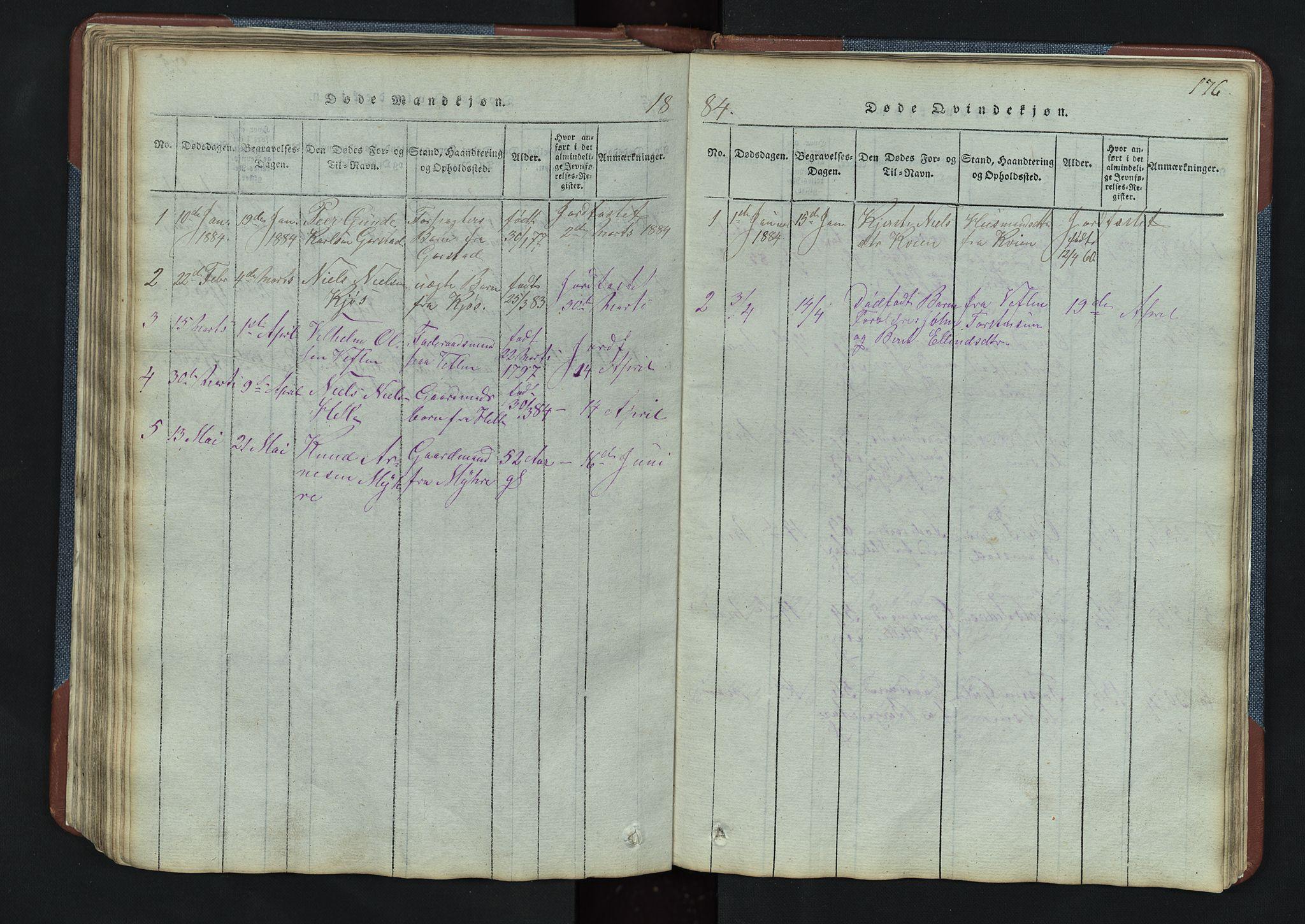 SAH, Vang prestekontor, Valdres, Klokkerbok nr. 3, 1814-1892, s. 176