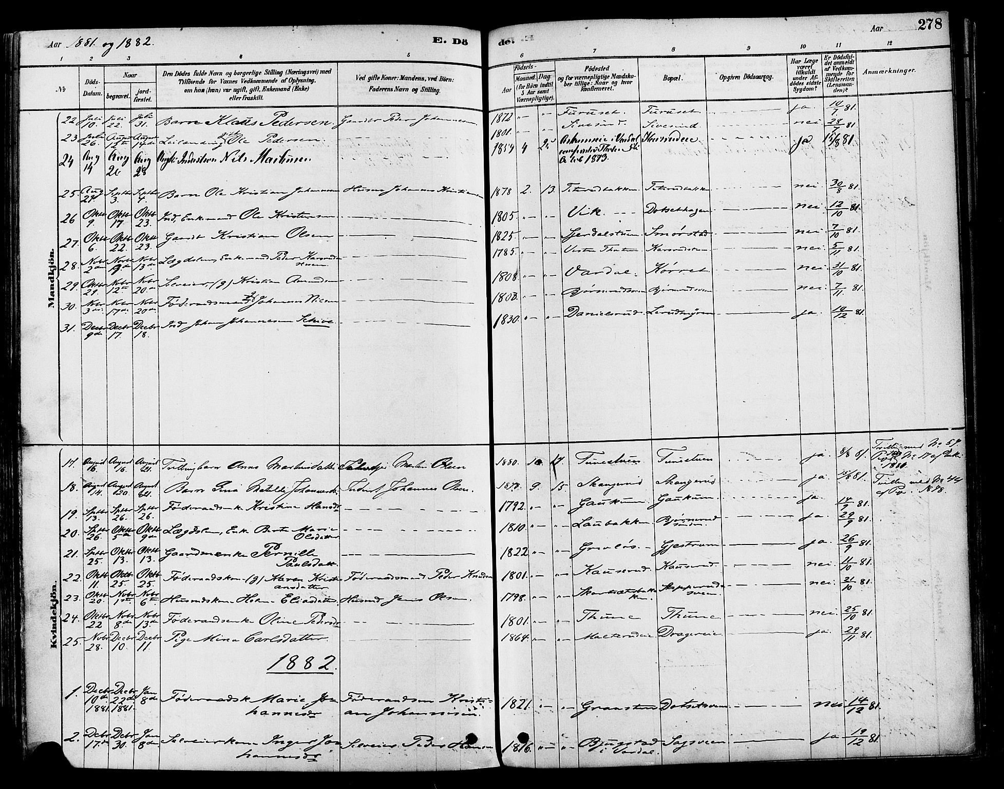 SAH, Vestre Toten prestekontor, Ministerialbok nr. 9, 1878-1894, s. 278