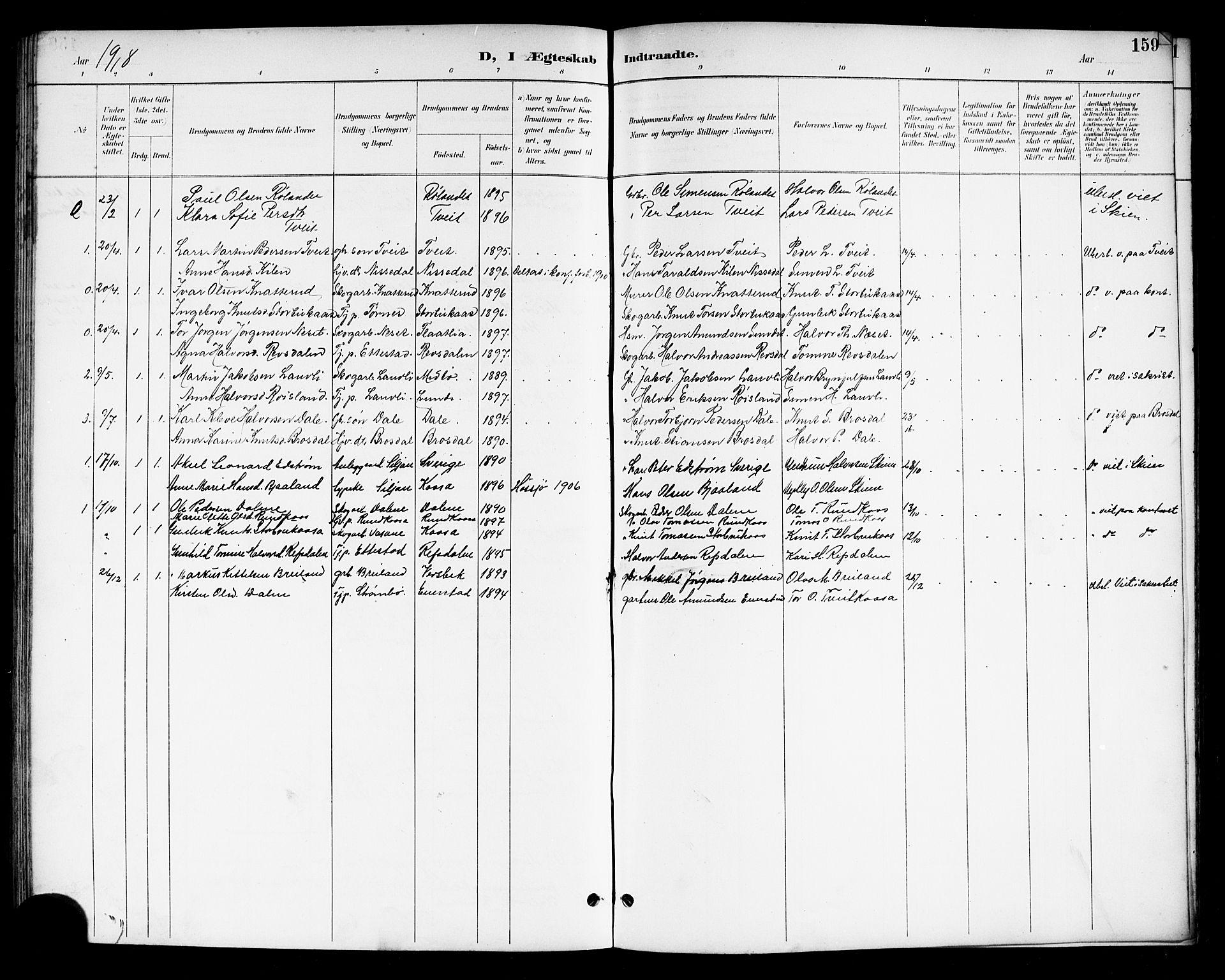 SAKO, Drangedal kirkebøker, G/Gb/L0002: Klokkerbok nr. II 2, 1895-1918, s. 159