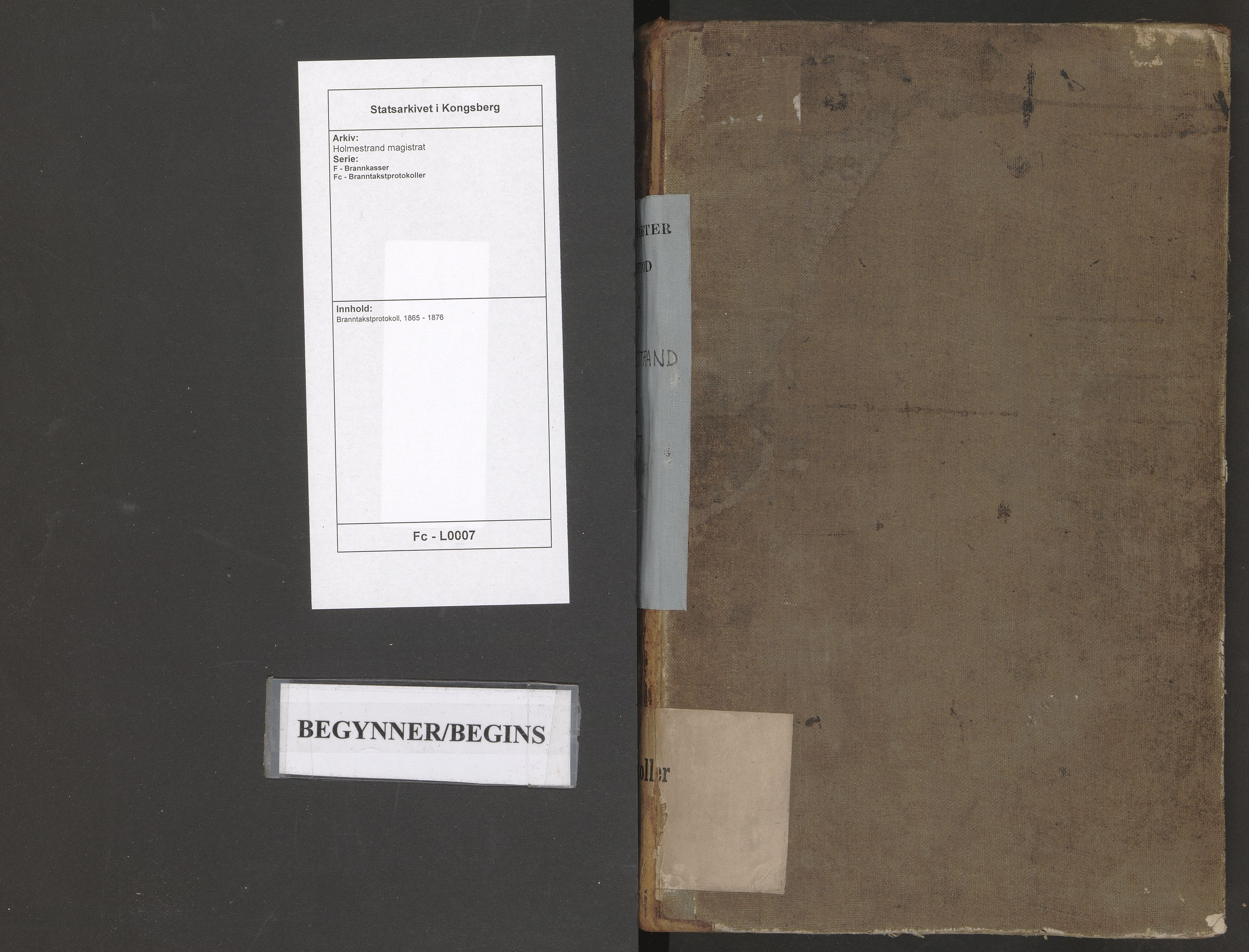 SAKO, Holmestrand magistrat, F/Fc/L0007: Branntakstprotokoll, 1865-1876
