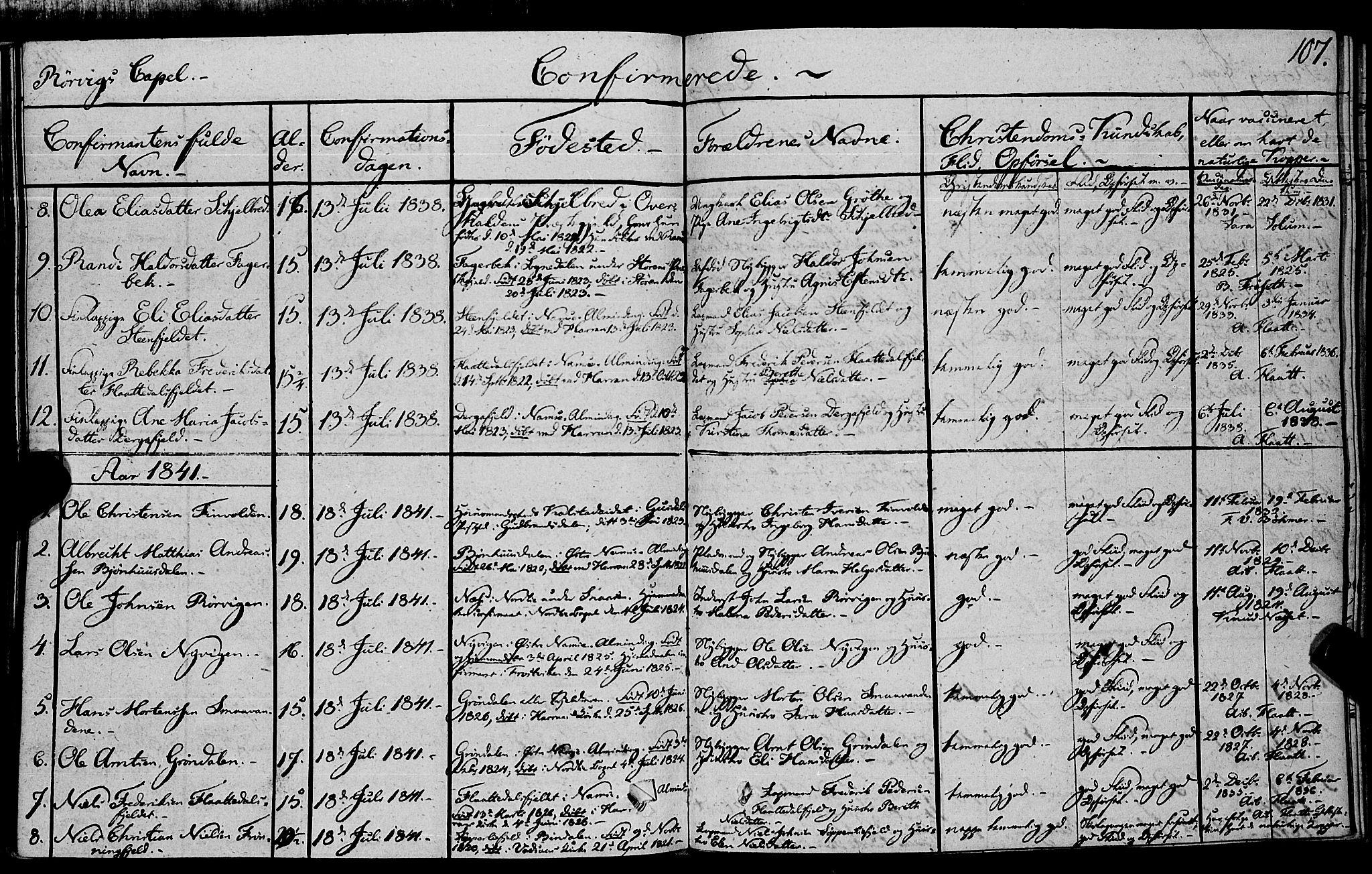SAT, Ministerialprotokoller, klokkerbøker og fødselsregistre - Nord-Trøndelag, 762/L0538: Ministerialbok nr. 762A02 /1, 1833-1879, s. 107