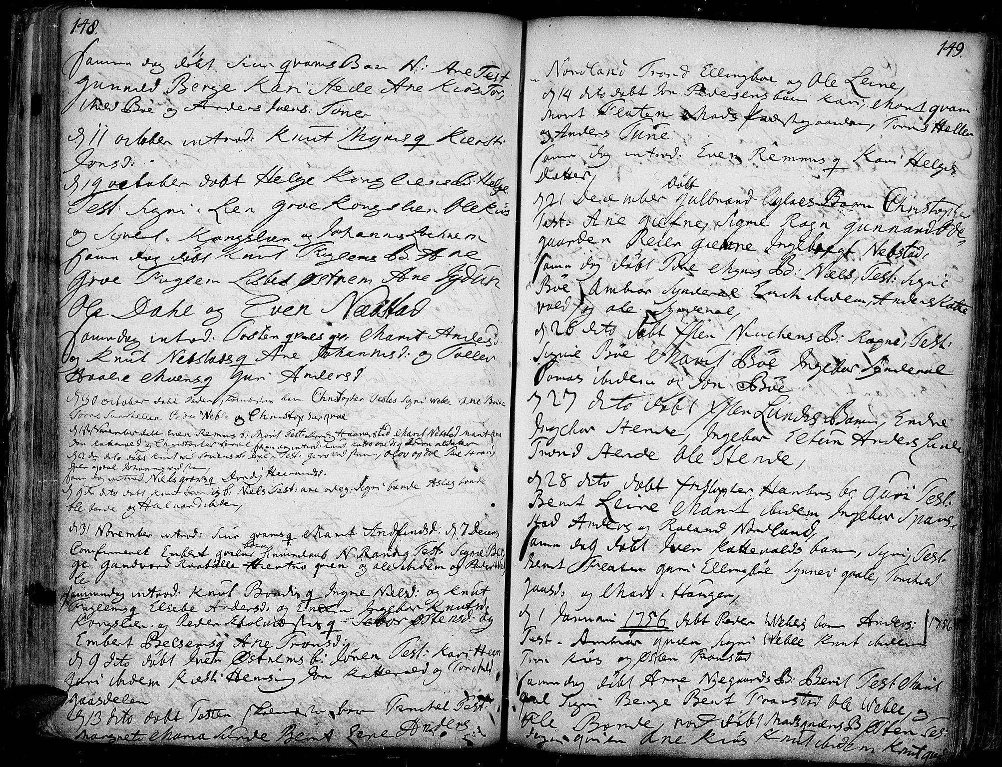 SAH, Vang prestekontor, Valdres, Ministerialbok nr. 1, 1730-1796, s. 148-149