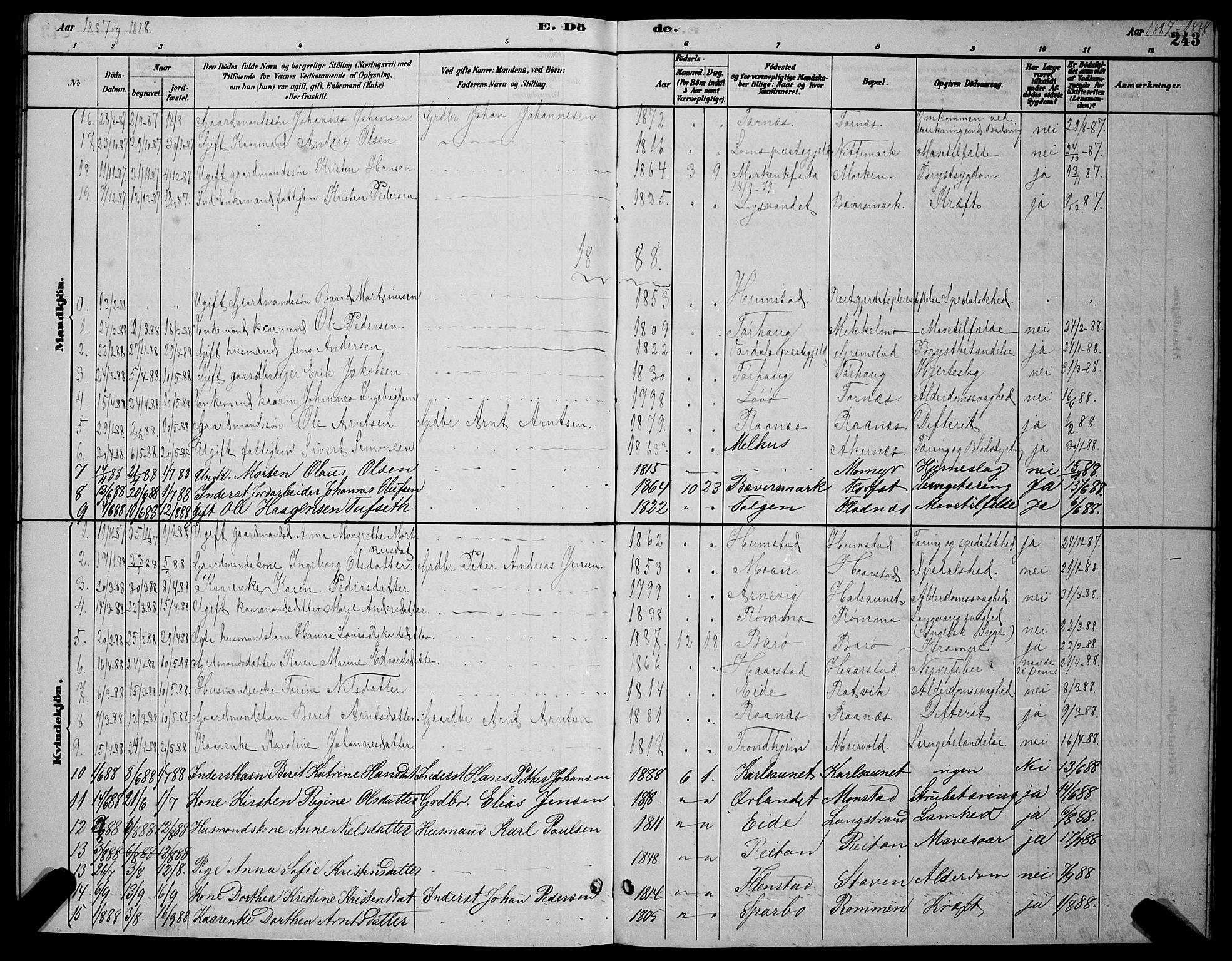 SAT, Ministerialprotokoller, klokkerbøker og fødselsregistre - Sør-Trøndelag, 655/L0687: Klokkerbok nr. 655C03, 1880-1898, s. 243