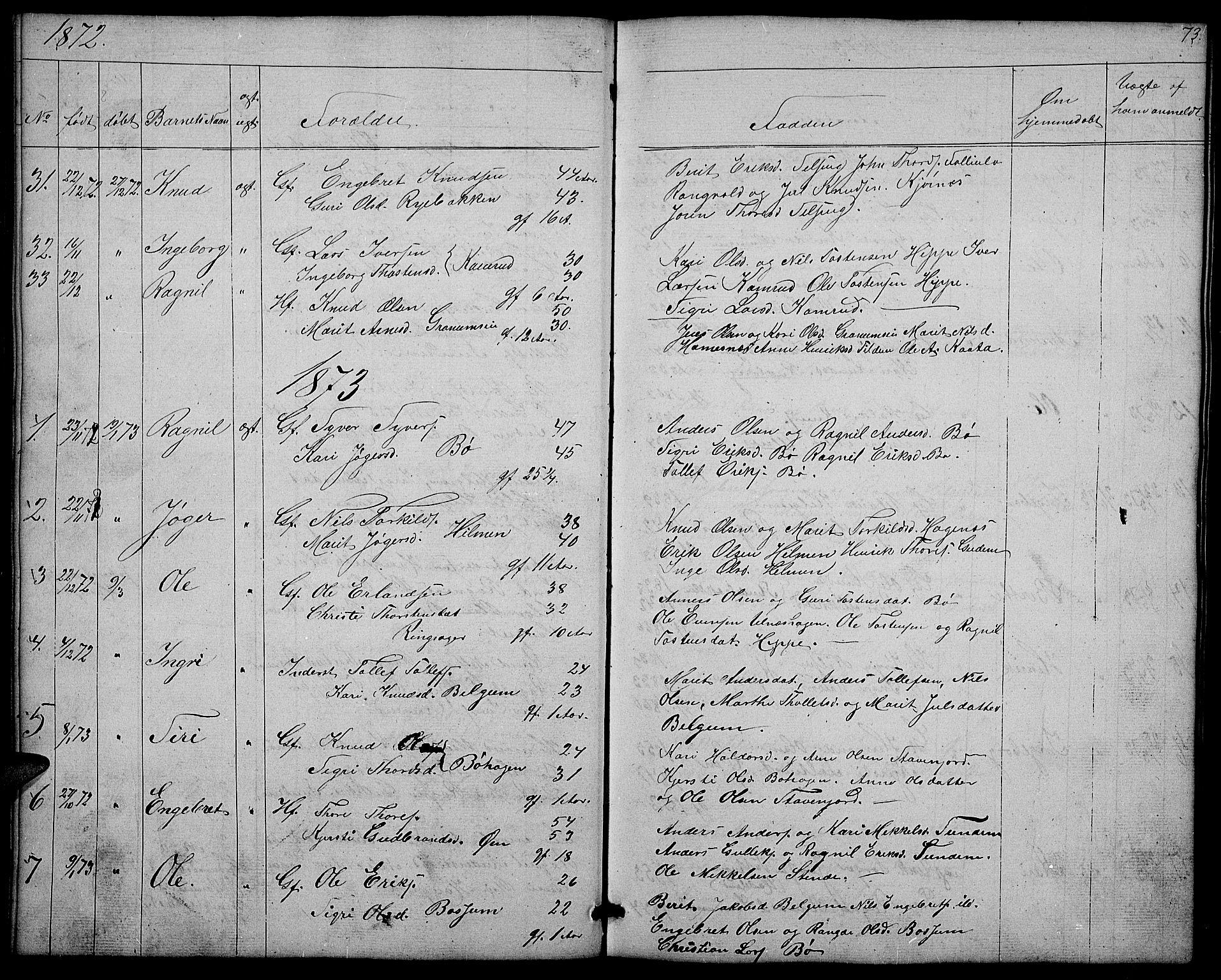 SAH, Nord-Aurdal prestekontor, Klokkerbok nr. 4, 1842-1882, s. 73