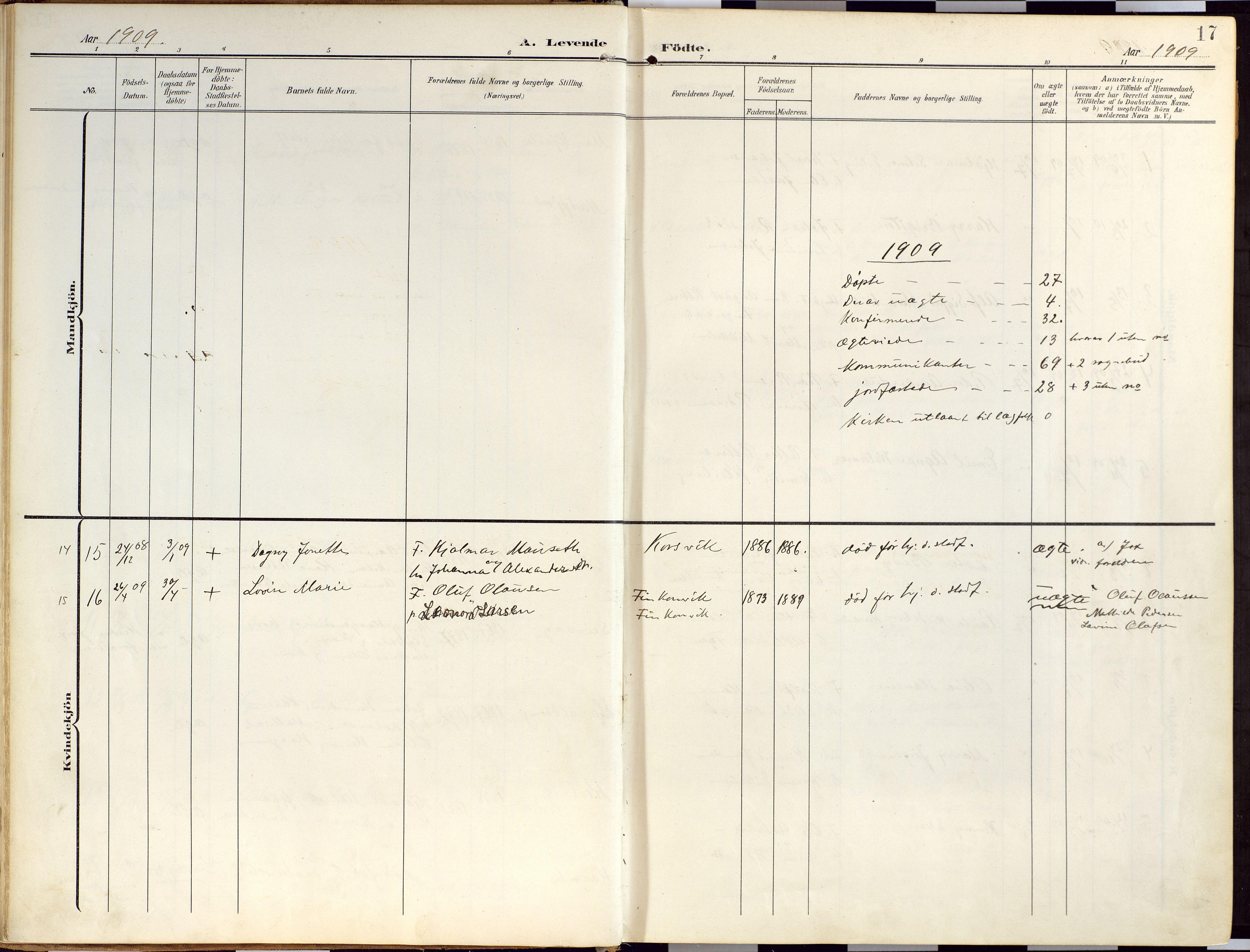 SATØ, Loppa sokneprestkontor, H/Ha/L0010kirke: Ministerialbok nr. 10, 1907-1922, s. 17