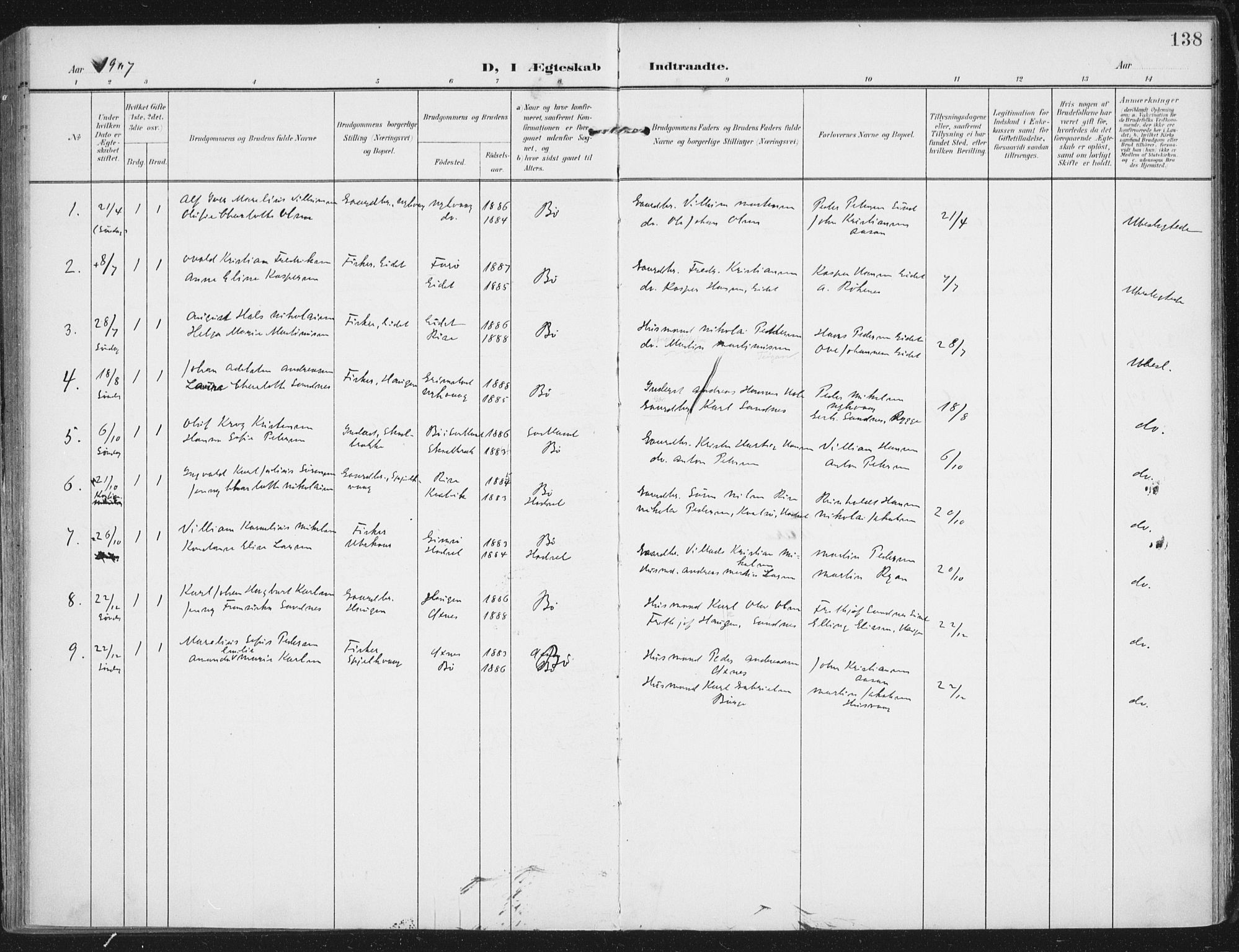SAT, Ministerialprotokoller, klokkerbøker og fødselsregistre - Nordland, 892/L1321: Ministerialbok nr. 892A02, 1902-1918, s. 138