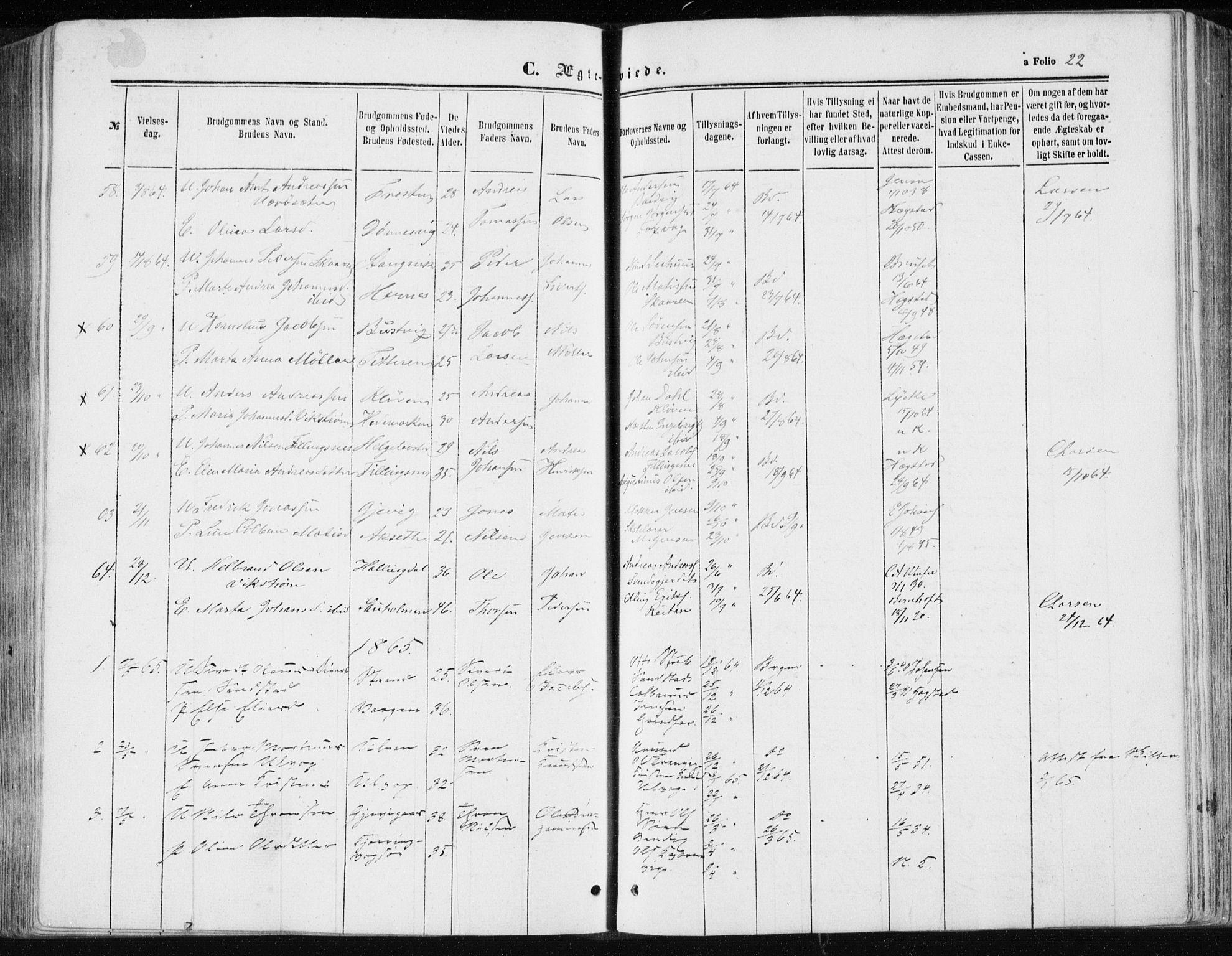 SAT, Ministerialprotokoller, klokkerbøker og fødselsregistre - Sør-Trøndelag, 634/L0531: Ministerialbok nr. 634A07, 1861-1870, s. 22