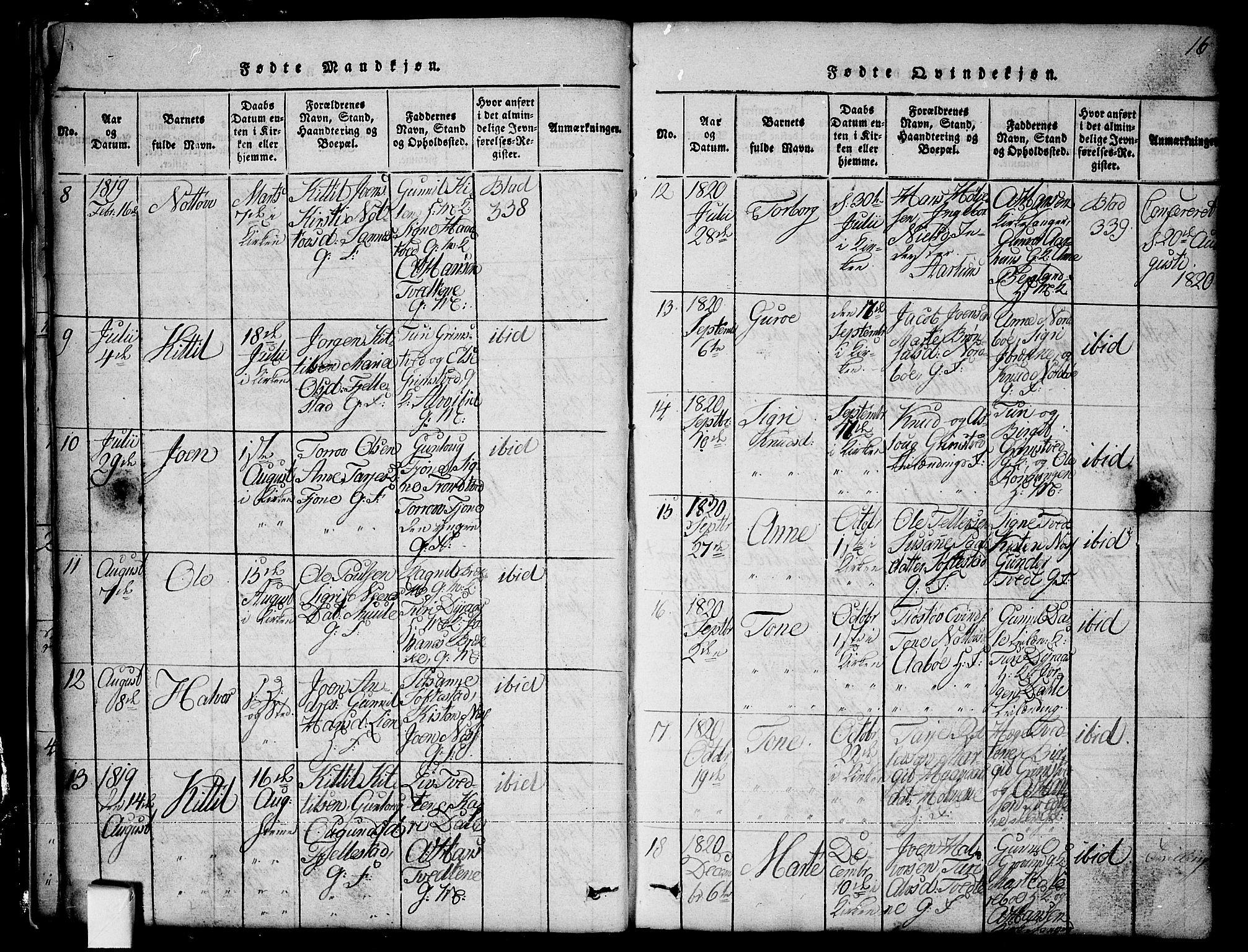 SAKO, Nissedal kirkebøker, G/Ga/L0001: Klokkerbok nr. I 1, 1814-1860, s. 16