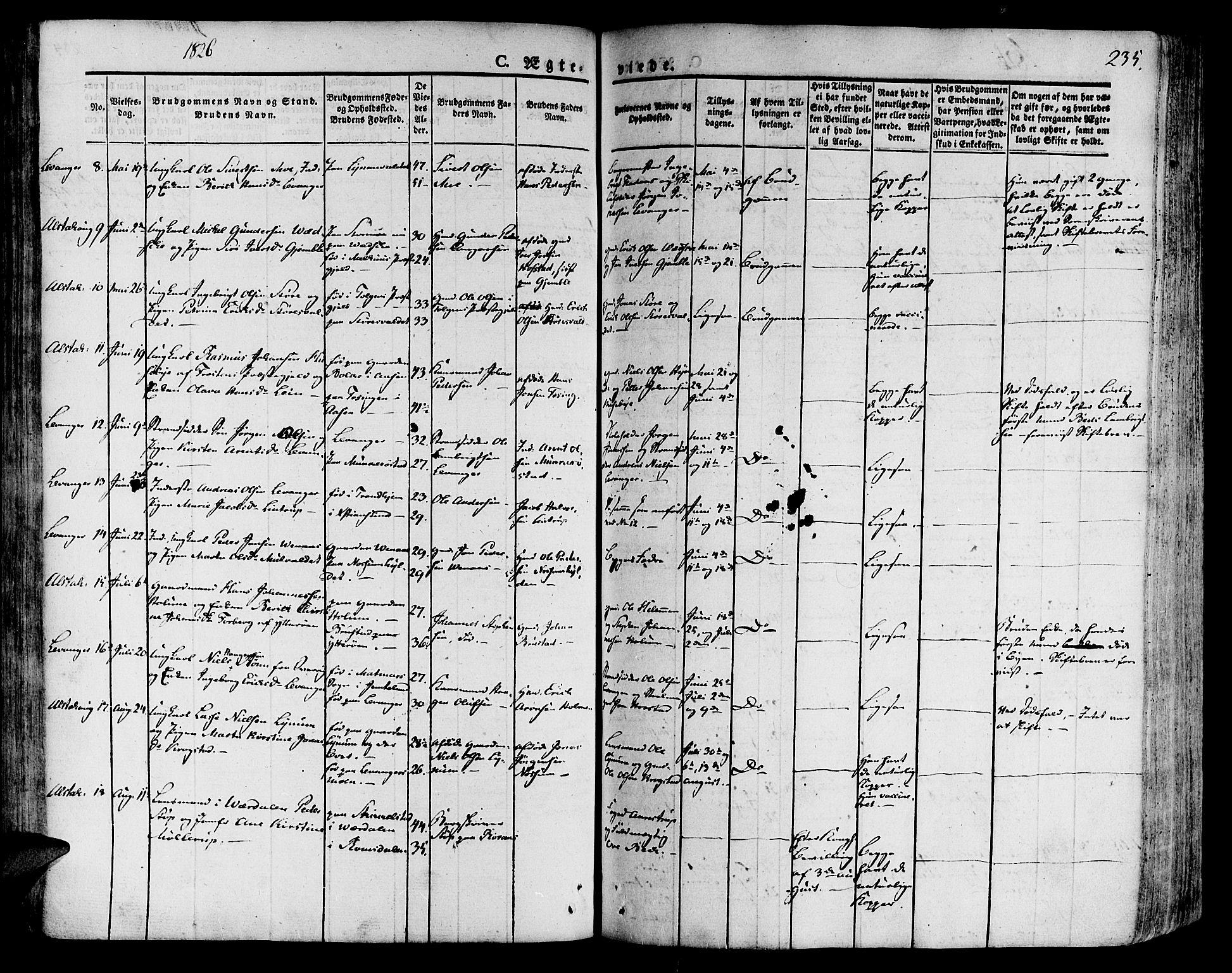 SAT, Ministerialprotokoller, klokkerbøker og fødselsregistre - Nord-Trøndelag, 717/L0152: Ministerialbok nr. 717A05 /1, 1825-1836, s. 235