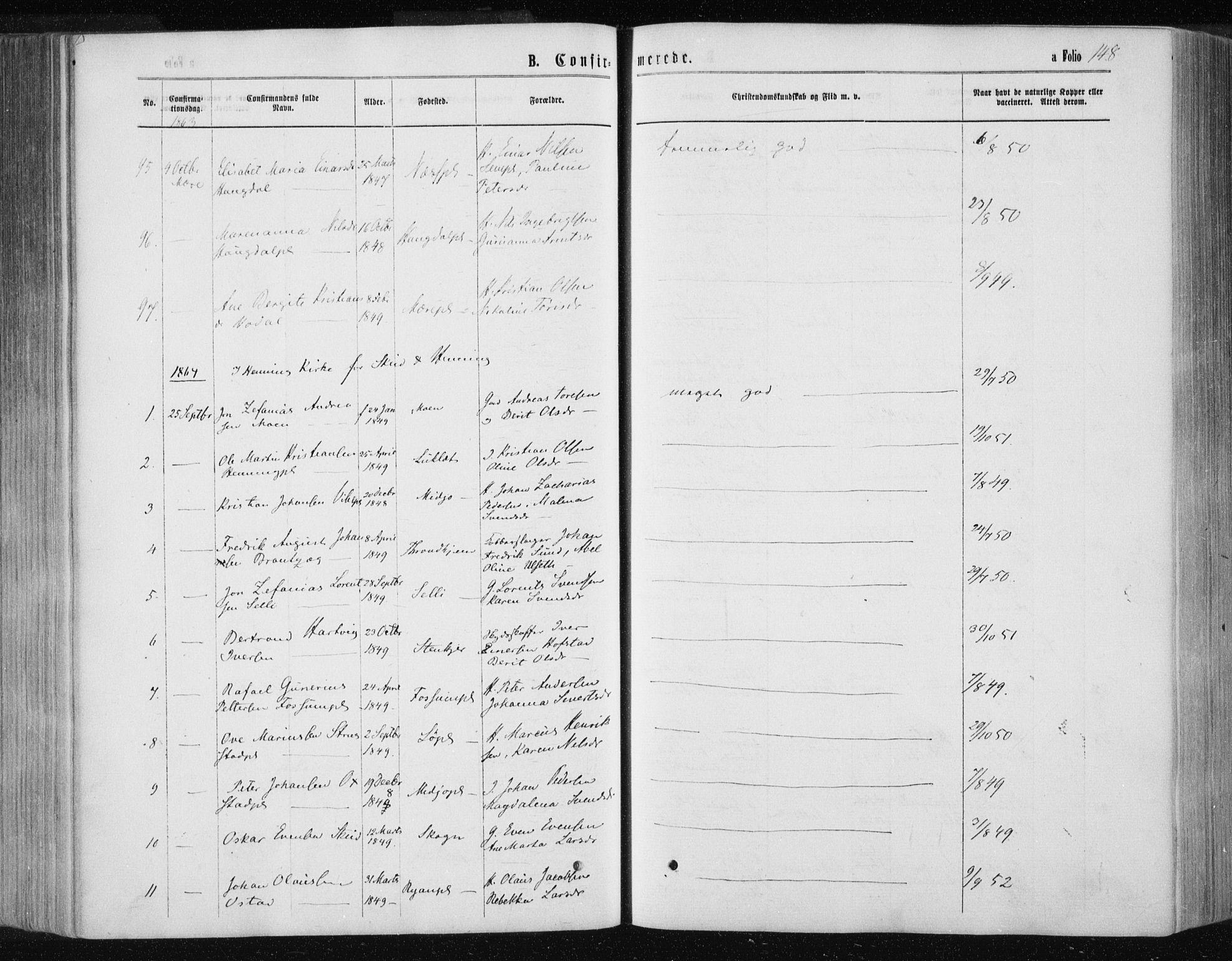 SAT, Ministerialprotokoller, klokkerbøker og fødselsregistre - Nord-Trøndelag, 735/L0345: Ministerialbok nr. 735A08 /1, 1863-1872, s. 148