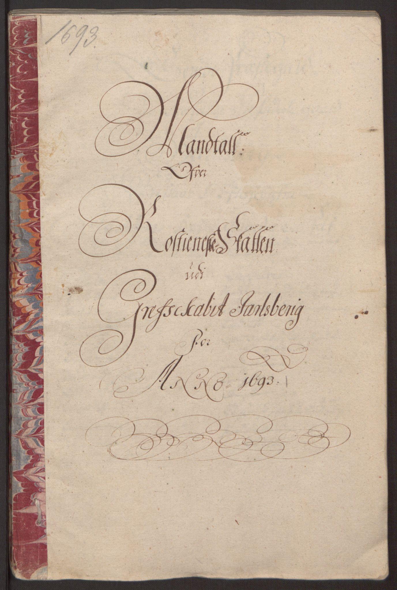 RA, Rentekammeret inntil 1814, Reviderte regnskaper, Fogderegnskap, R32/L1866: Fogderegnskap Jarlsberg grevskap, 1693, s. 313