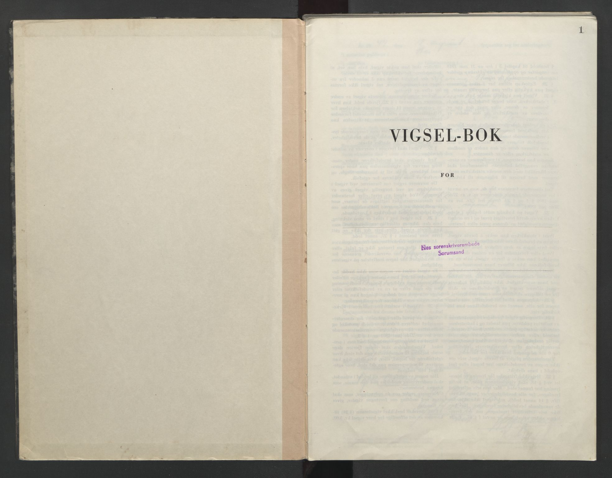 SAO, Nes tingrett, L/Lc/Lca/L0003: Vigselbok, 1944-1953, s. 1