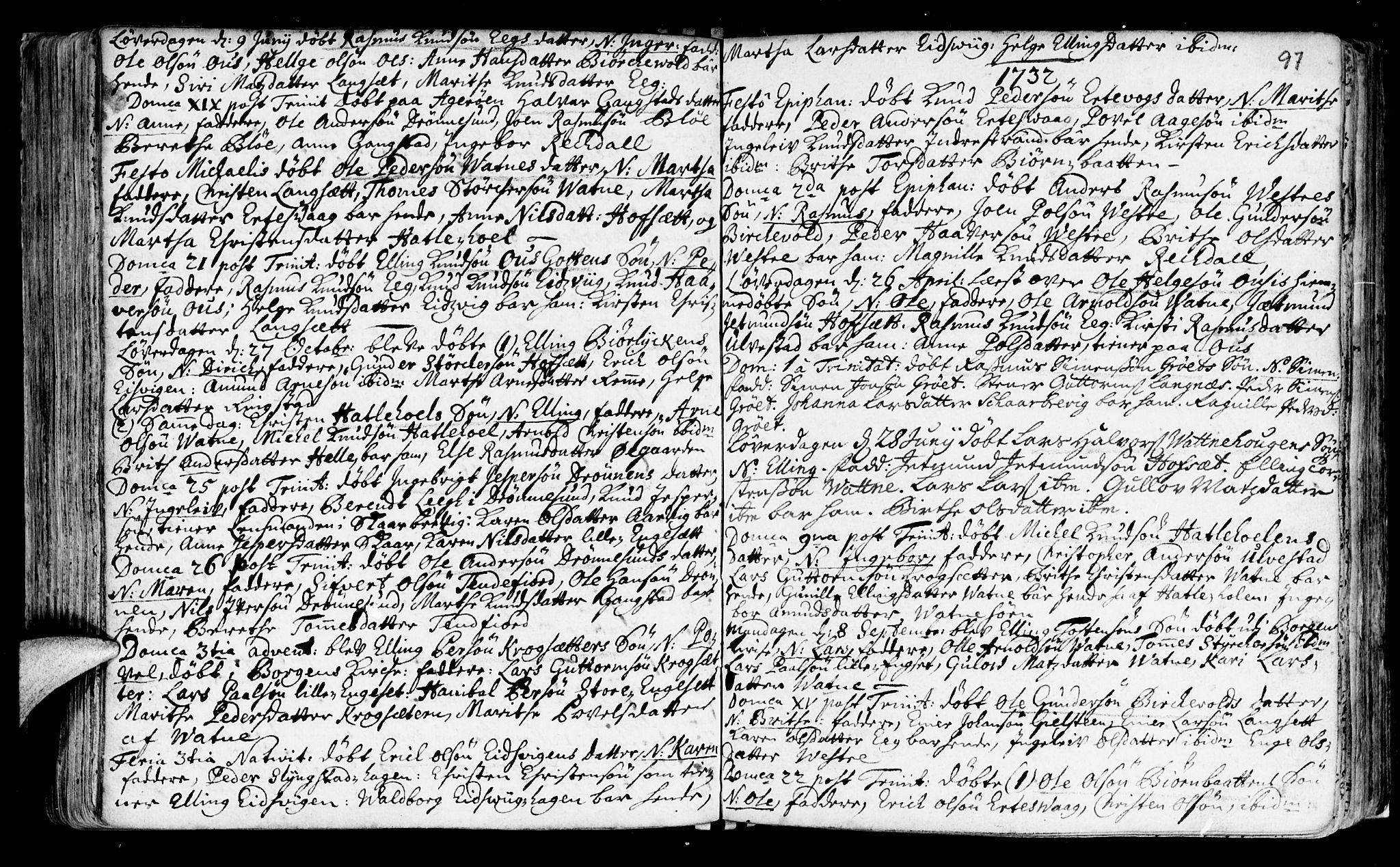 SAT, Ministerialprotokoller, klokkerbøker og fødselsregistre - Møre og Romsdal, 525/L0371: Ministerialbok nr. 525A01, 1699-1777, s. 97