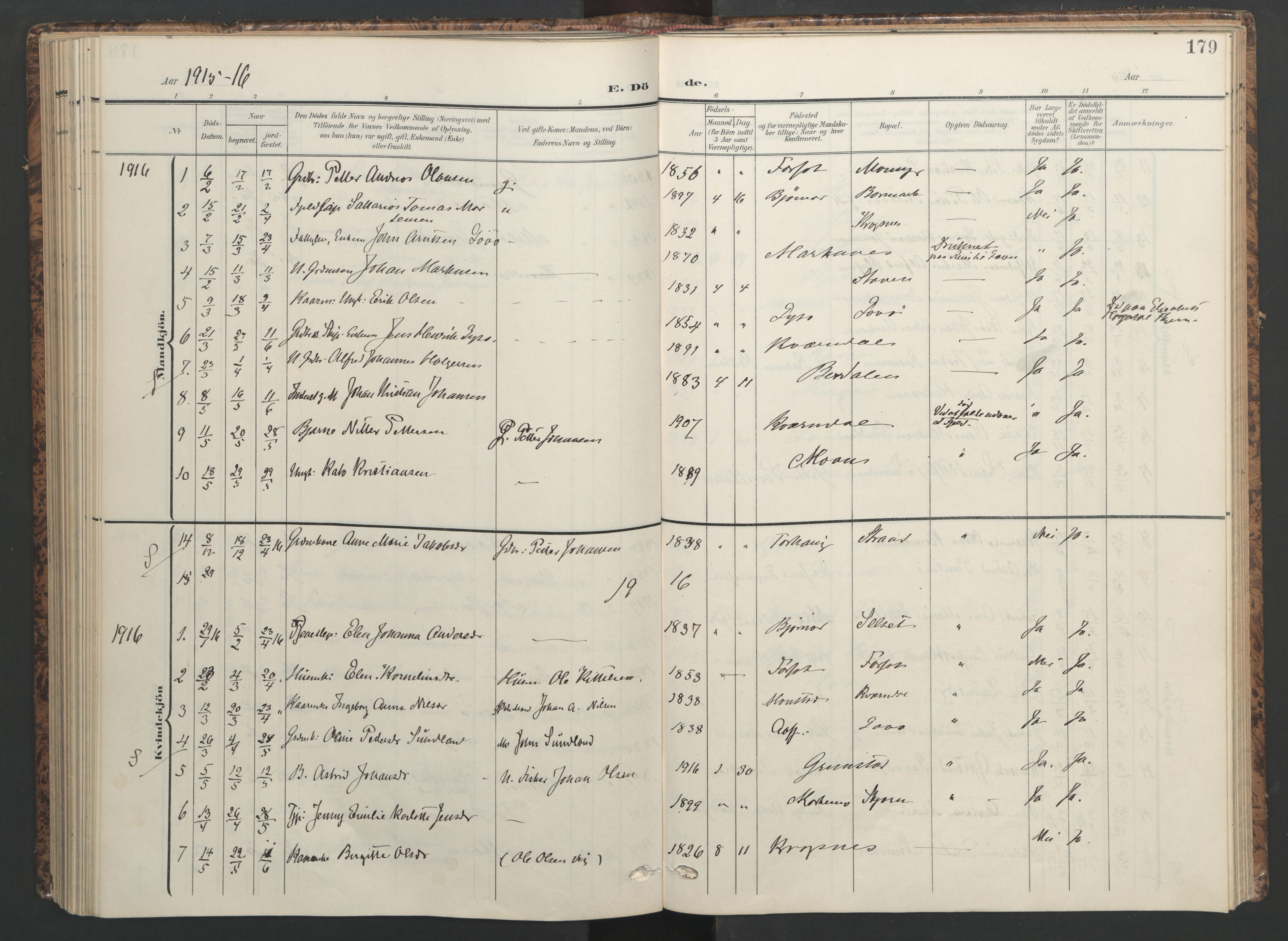 SAT, Ministerialprotokoller, klokkerbøker og fødselsregistre - Sør-Trøndelag, 655/L0682: Ministerialbok nr. 655A11, 1908-1922, s. 179