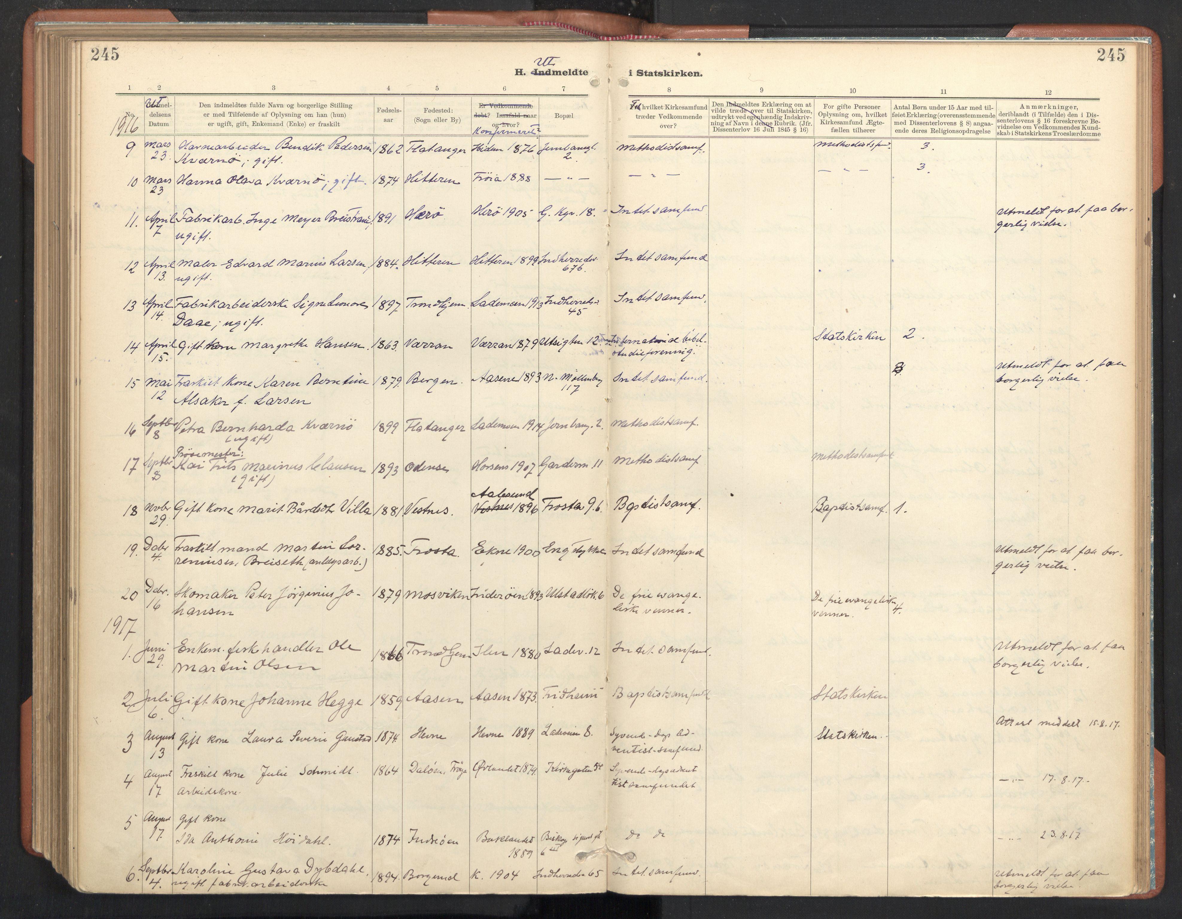 SAT, Ministerialprotokoller, klokkerbøker og fødselsregistre - Sør-Trøndelag, 605/L0244: Ministerialbok nr. 605A06, 1908-1954, s. 245