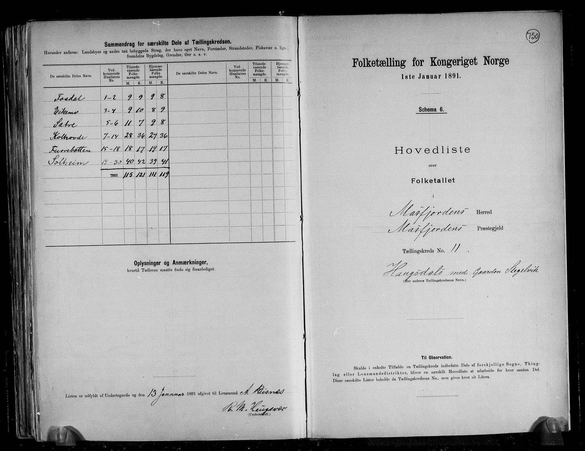 RA, Folketelling 1891 for 1266 Masfjorden herred, 1891, s. 25
