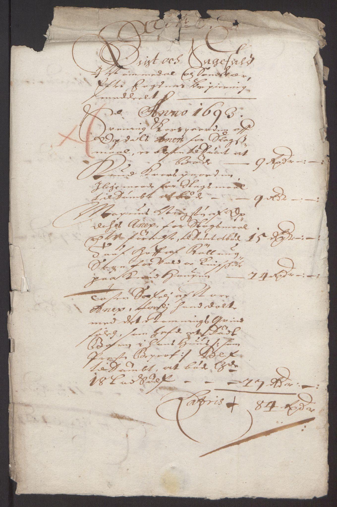 RA, Rentekammeret inntil 1814, Reviderte regnskaper, Fogderegnskap, R24/L1575: Fogderegnskap Numedal og Sandsvær, 1692-1695, s. 141