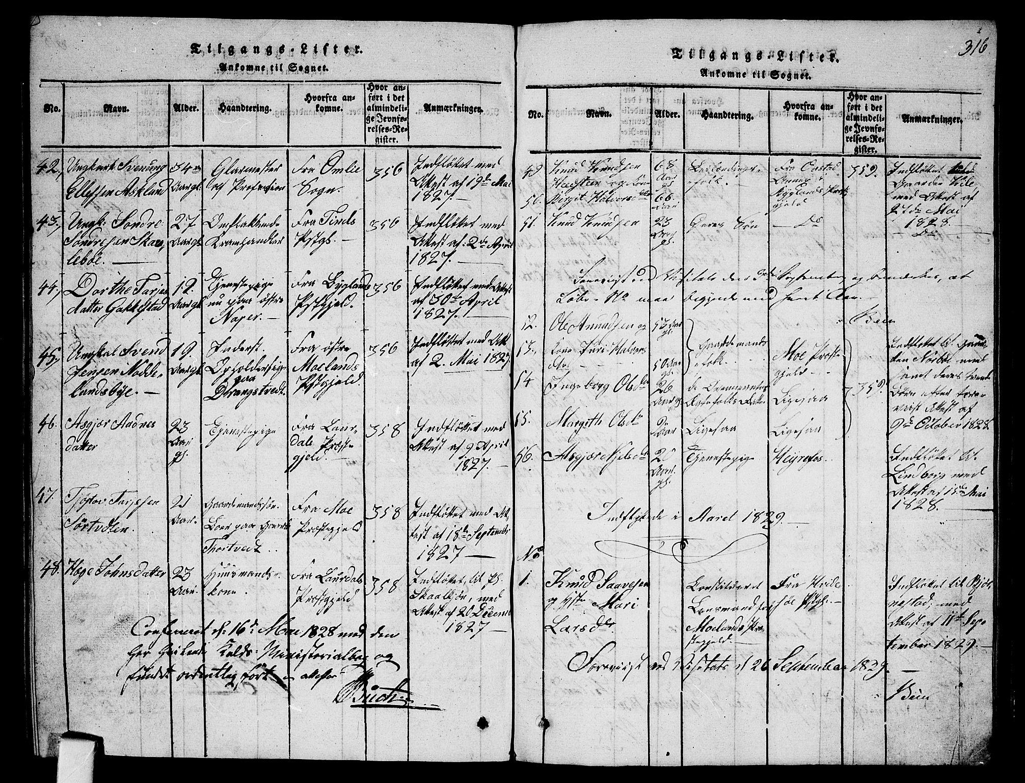 SAKO, Fyresdal kirkebøker, G/Ga/L0001: Klokkerbok nr. I 1, 1816-1840, s. 316