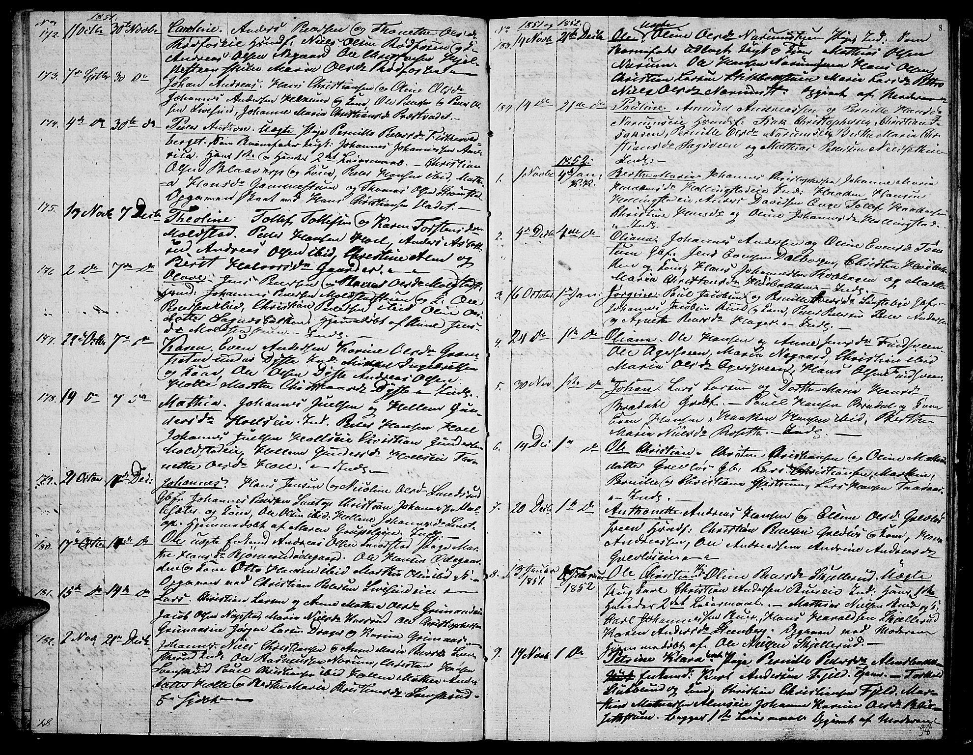 SAH, Vestre Toten prestekontor, Klokkerbok nr. 4, 1851-1853, s. 8