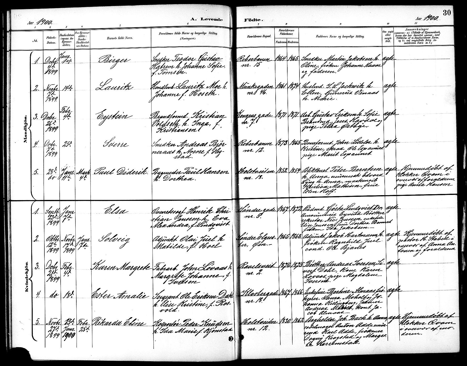 SAT, Ministerialprotokoller, klokkerbøker og fødselsregistre - Sør-Trøndelag, 601/L0094: Klokkerbok nr. 601C12, 1898-1911, s. 30