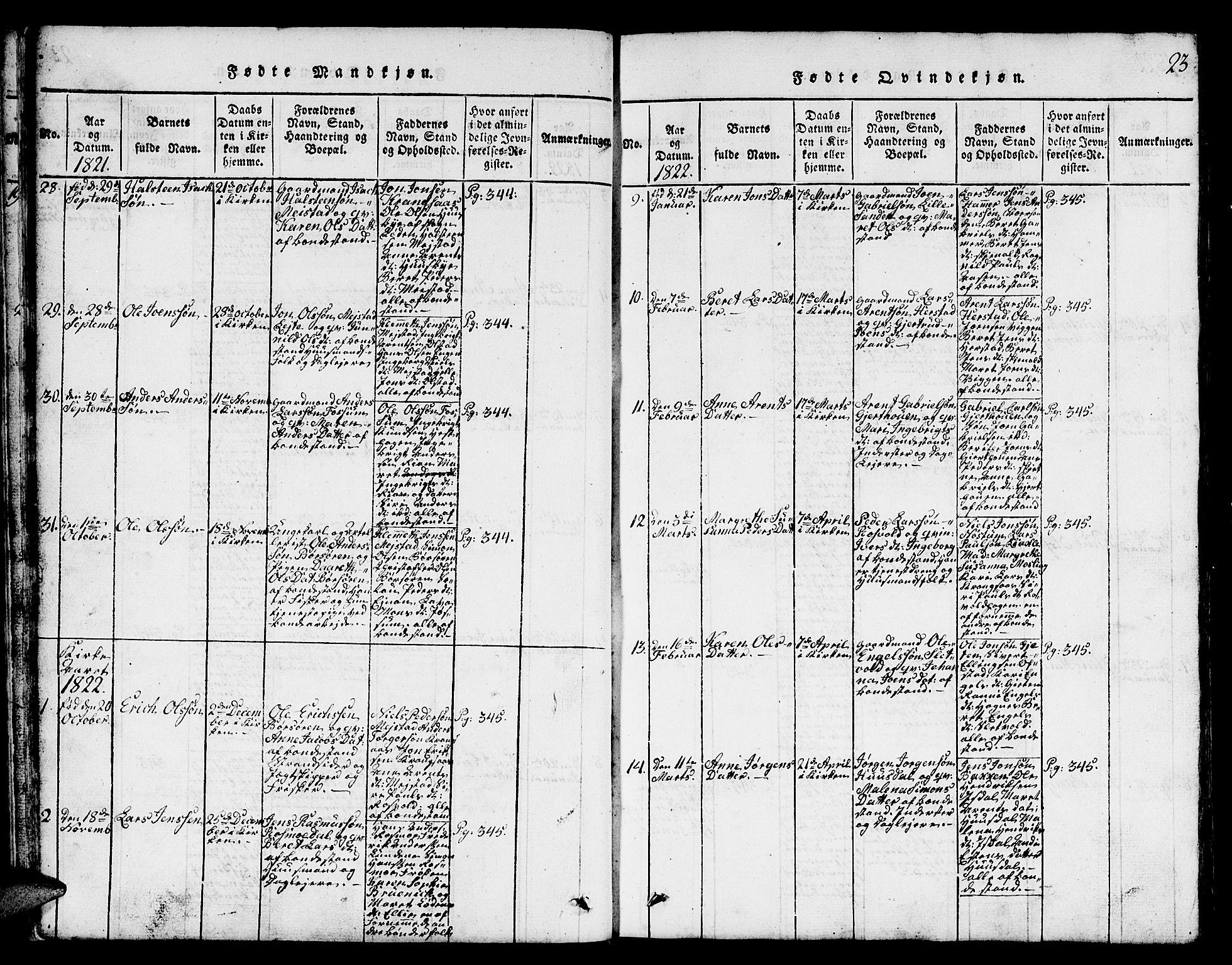 SAT, Ministerialprotokoller, klokkerbøker og fødselsregistre - Sør-Trøndelag, 665/L0776: Klokkerbok nr. 665C01, 1817-1837, s. 23
