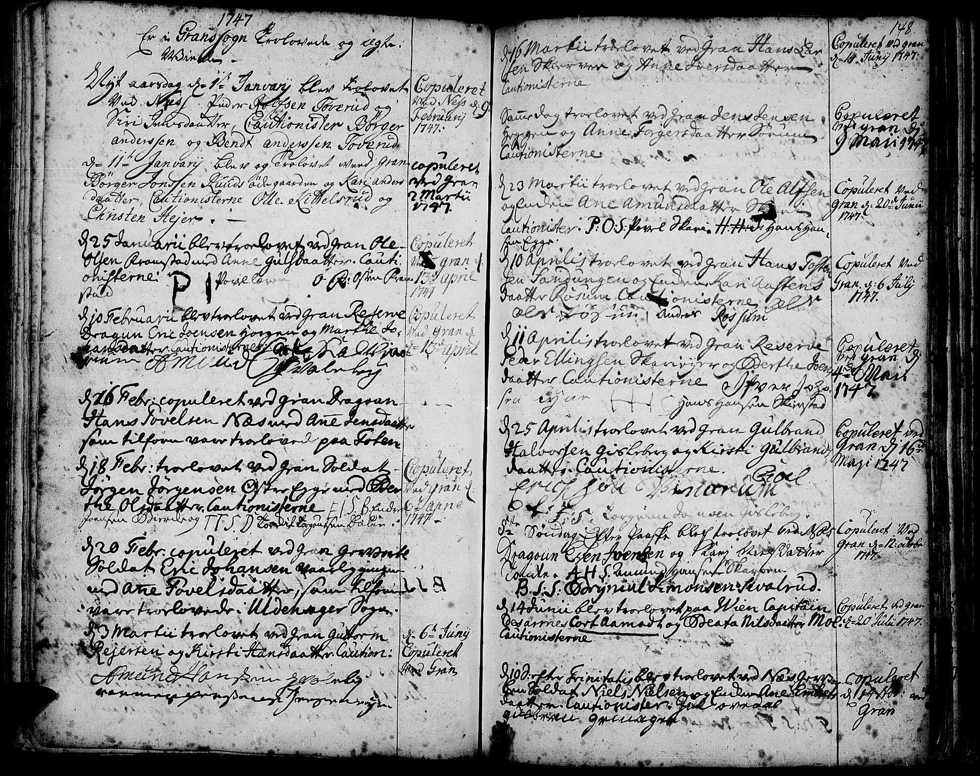 SAH, Gran prestekontor, Ministerialbok nr. 3, 1745-1758, s. 148