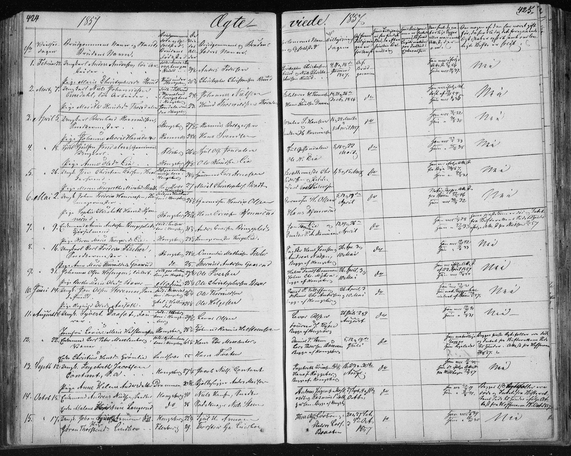 SAKO, Kongsberg kirkebøker, F/Fa/L0009: Ministerialbok nr. I 9, 1839-1858, s. 424-425