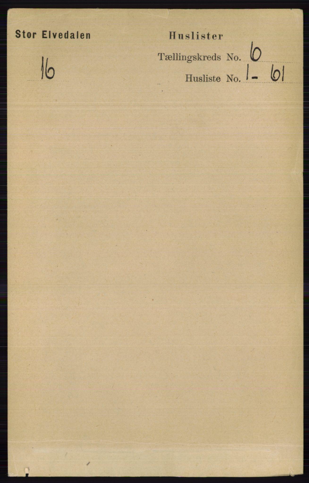 RA, Folketelling 1891 for 0430 Stor-Elvdal herred, 1891, s. 2037
