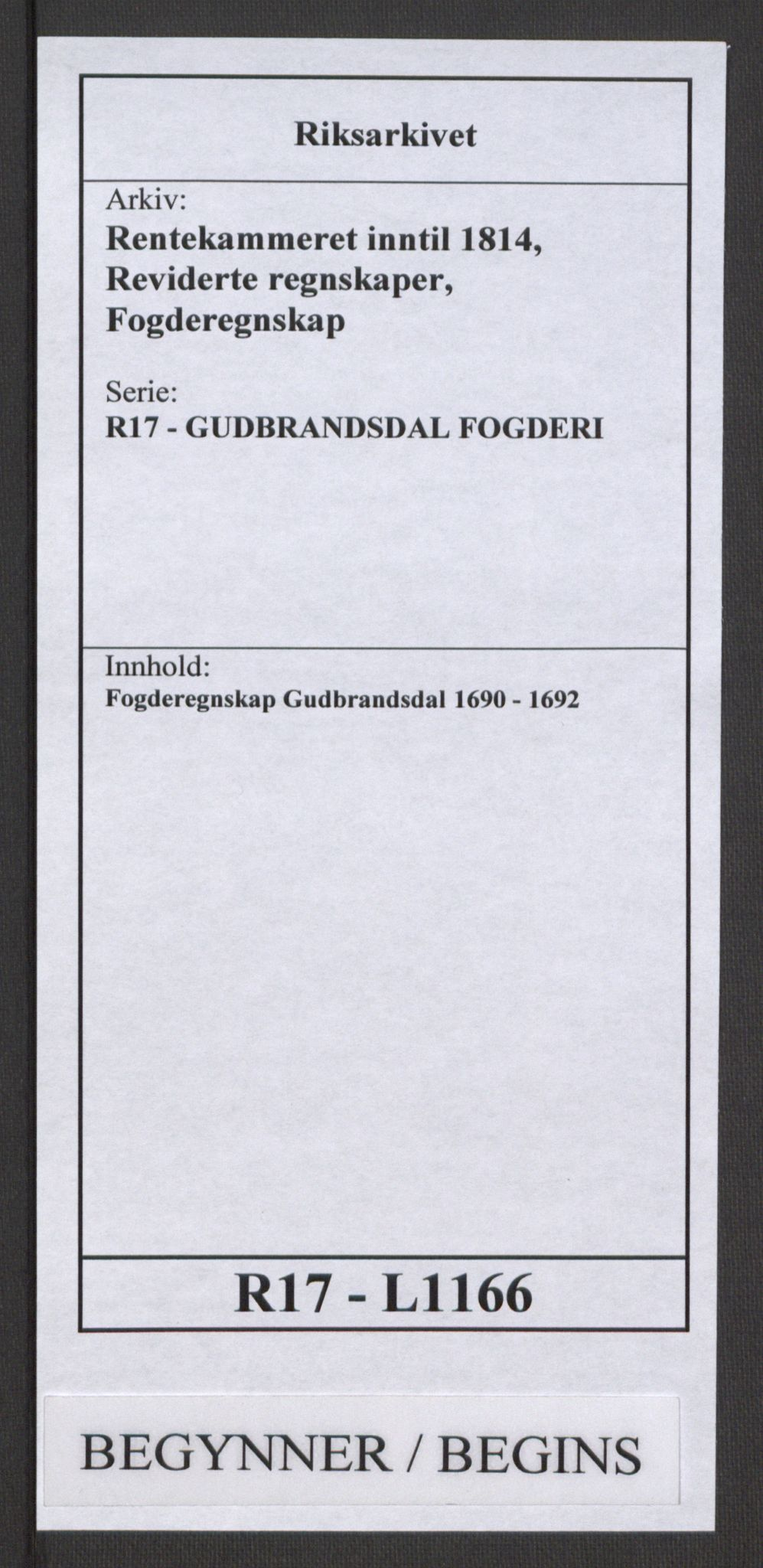 RA, Rentekammeret inntil 1814, Reviderte regnskaper, Fogderegnskap, R17/L1166: Fogderegnskap Gudbrandsdal, 1690-1692, s. 1