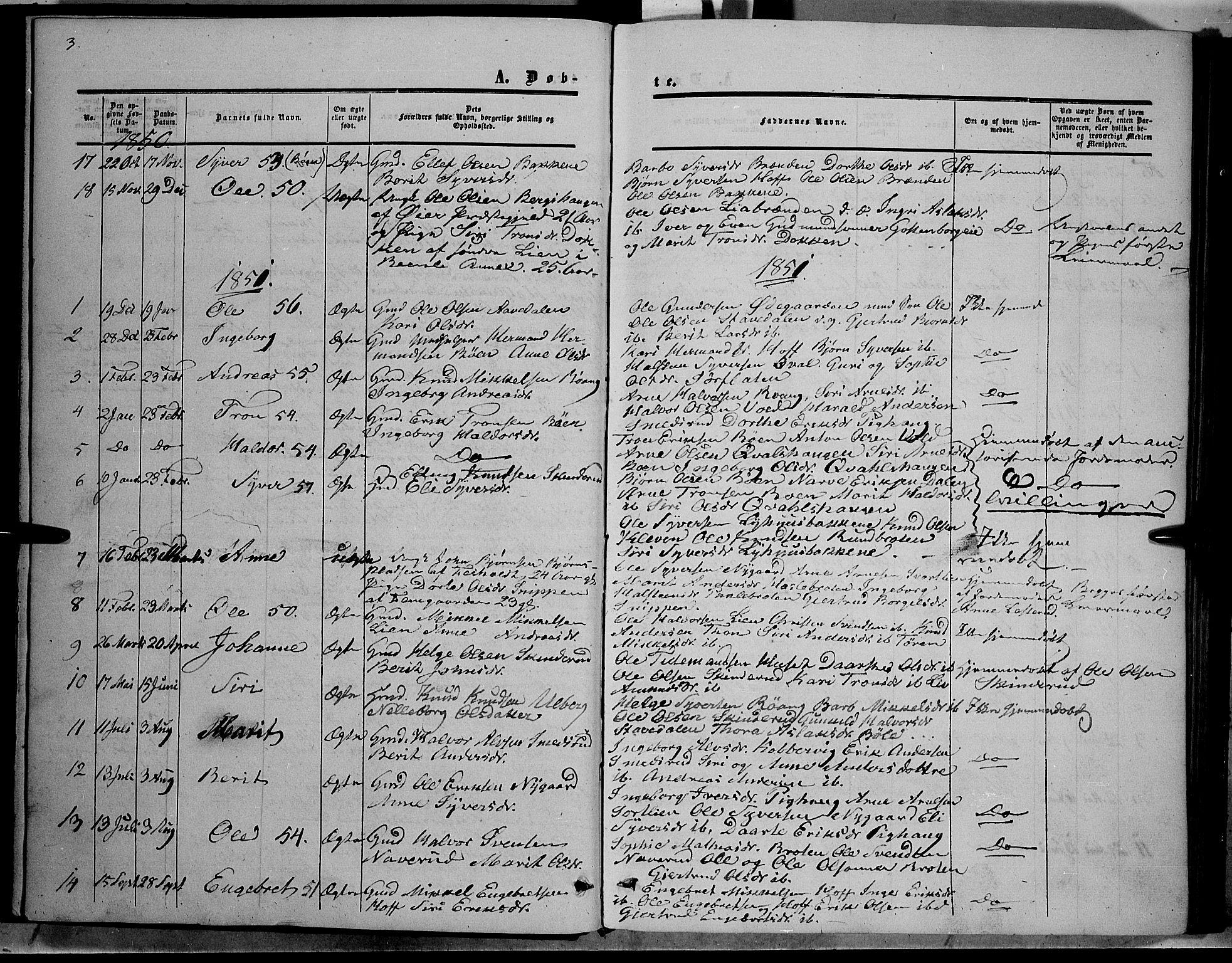 SAH, Sør-Aurdal prestekontor, Ministerialbok nr. 6, 1849-1876, s. 3