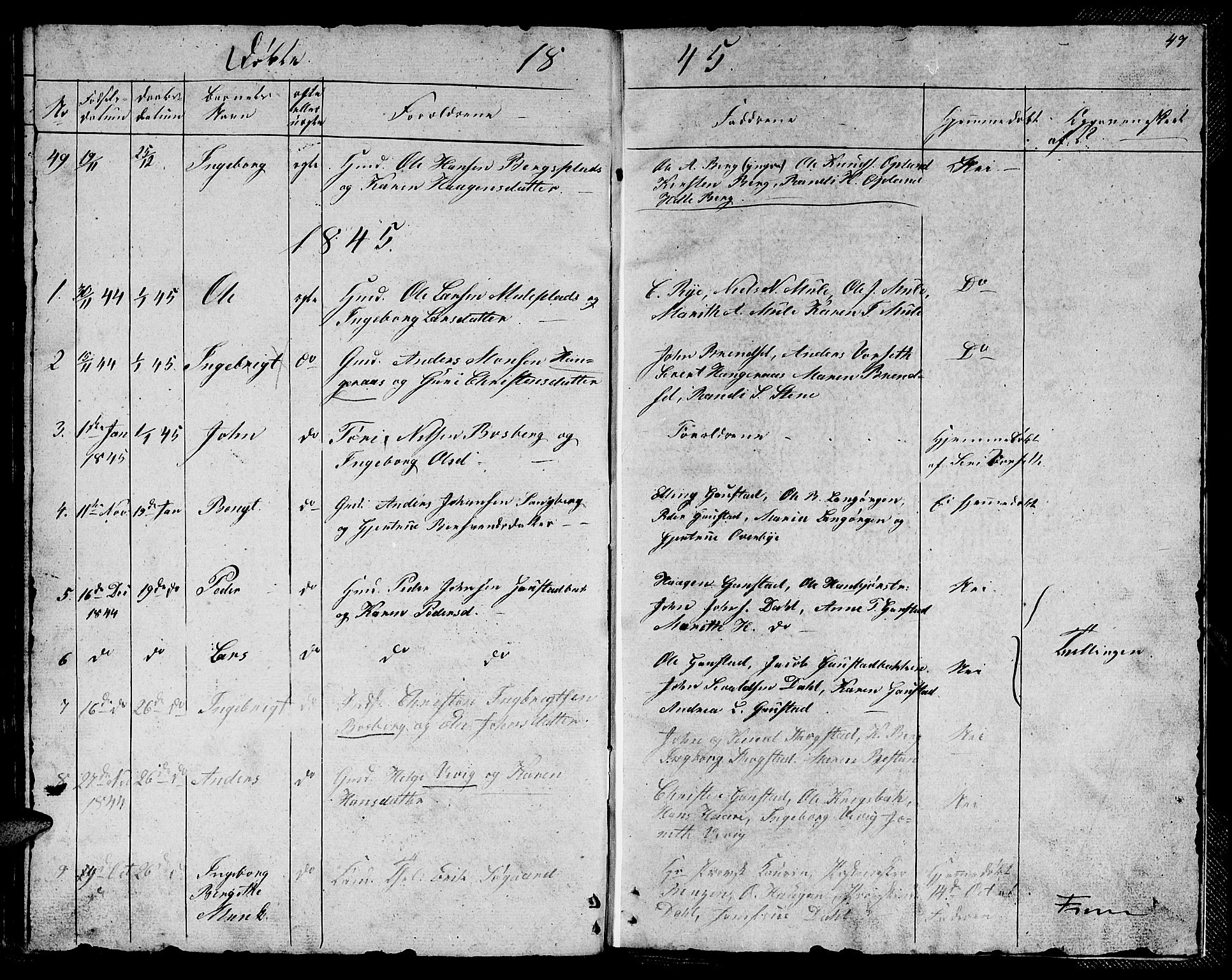 SAT, Ministerialprotokoller, klokkerbøker og fødselsregistre - Sør-Trøndelag, 612/L0386: Klokkerbok nr. 612C02, 1834-1845, s. 47