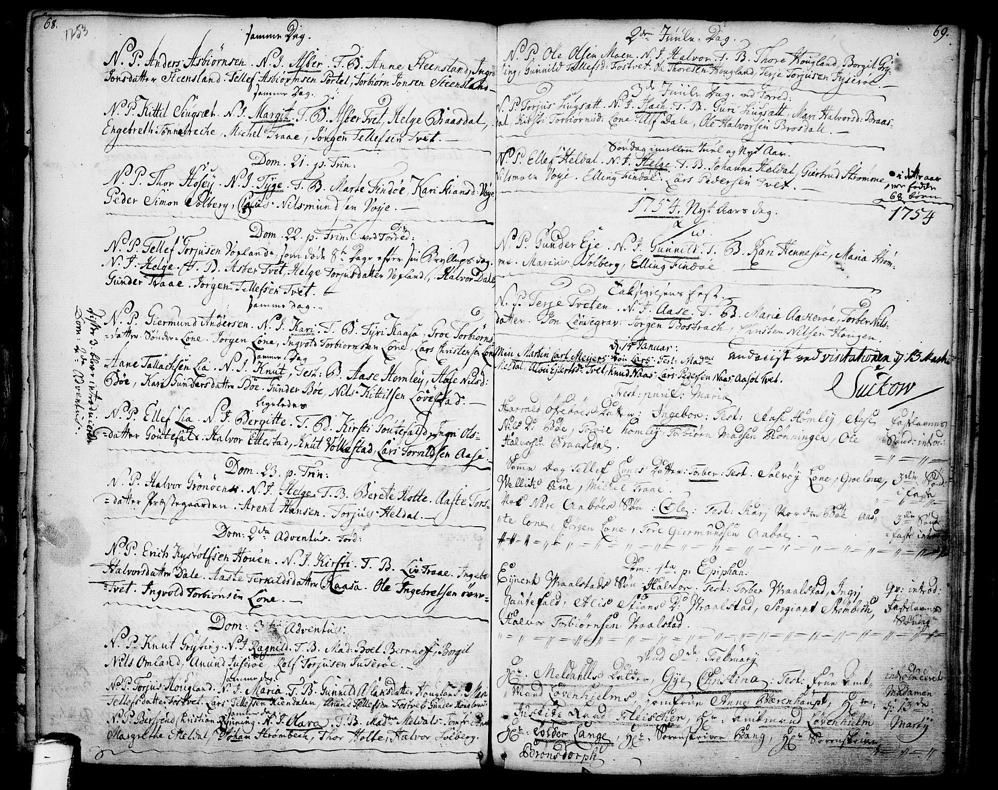 SAKO, Drangedal kirkebøker, F/Fa/L0001: Ministerialbok nr. 1, 1697-1767, s. 68-69
