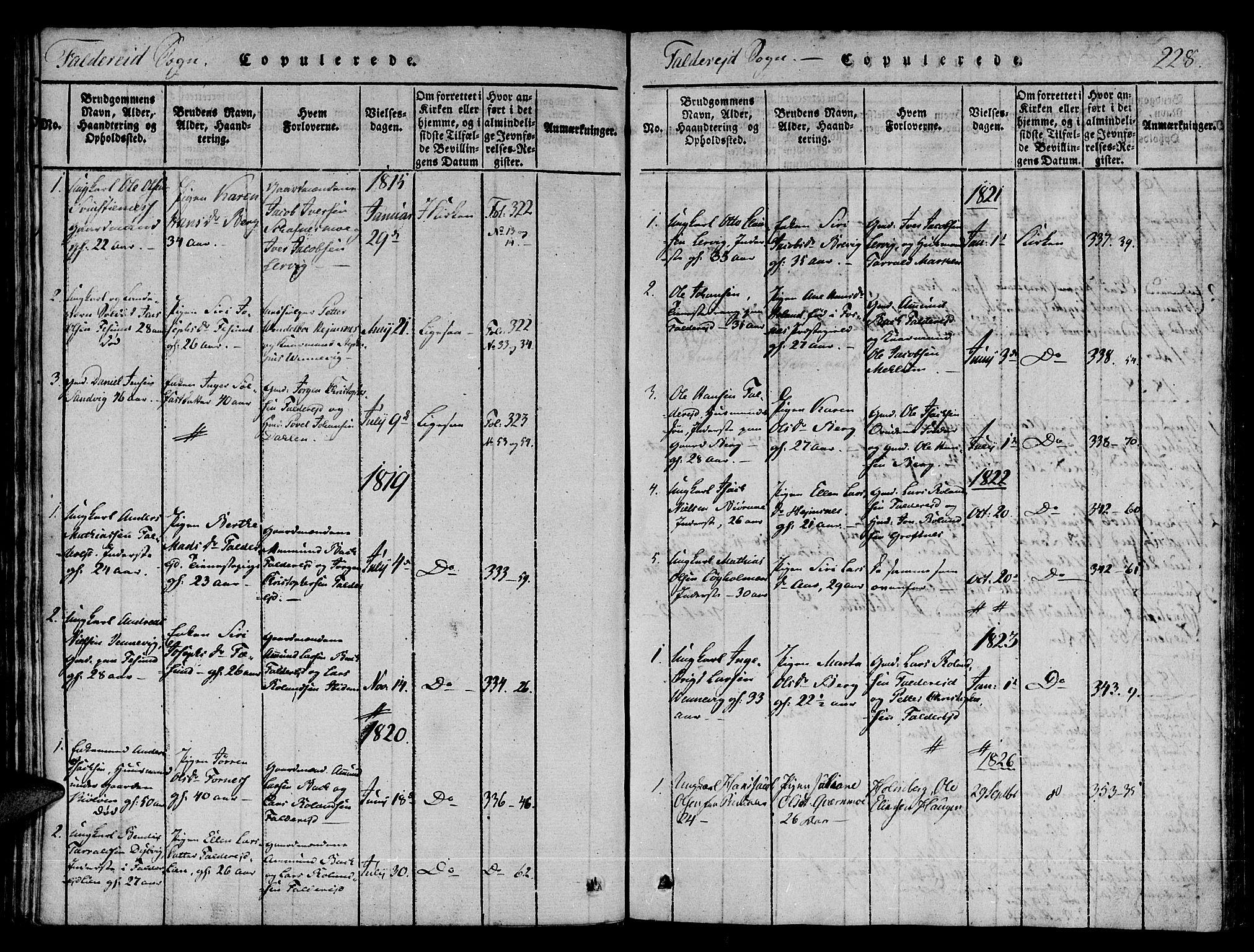 SAT, Ministerialprotokoller, klokkerbøker og fødselsregistre - Nord-Trøndelag, 780/L0636: Ministerialbok nr. 780A03 /3, 1815-1829, s. 228