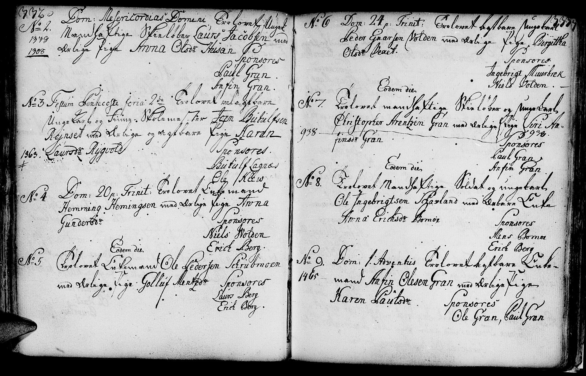 SAT, Ministerialprotokoller, klokkerbøker og fødselsregistre - Nord-Trøndelag, 749/L0467: Ministerialbok nr. 749A01, 1733-1787, s. 332-333