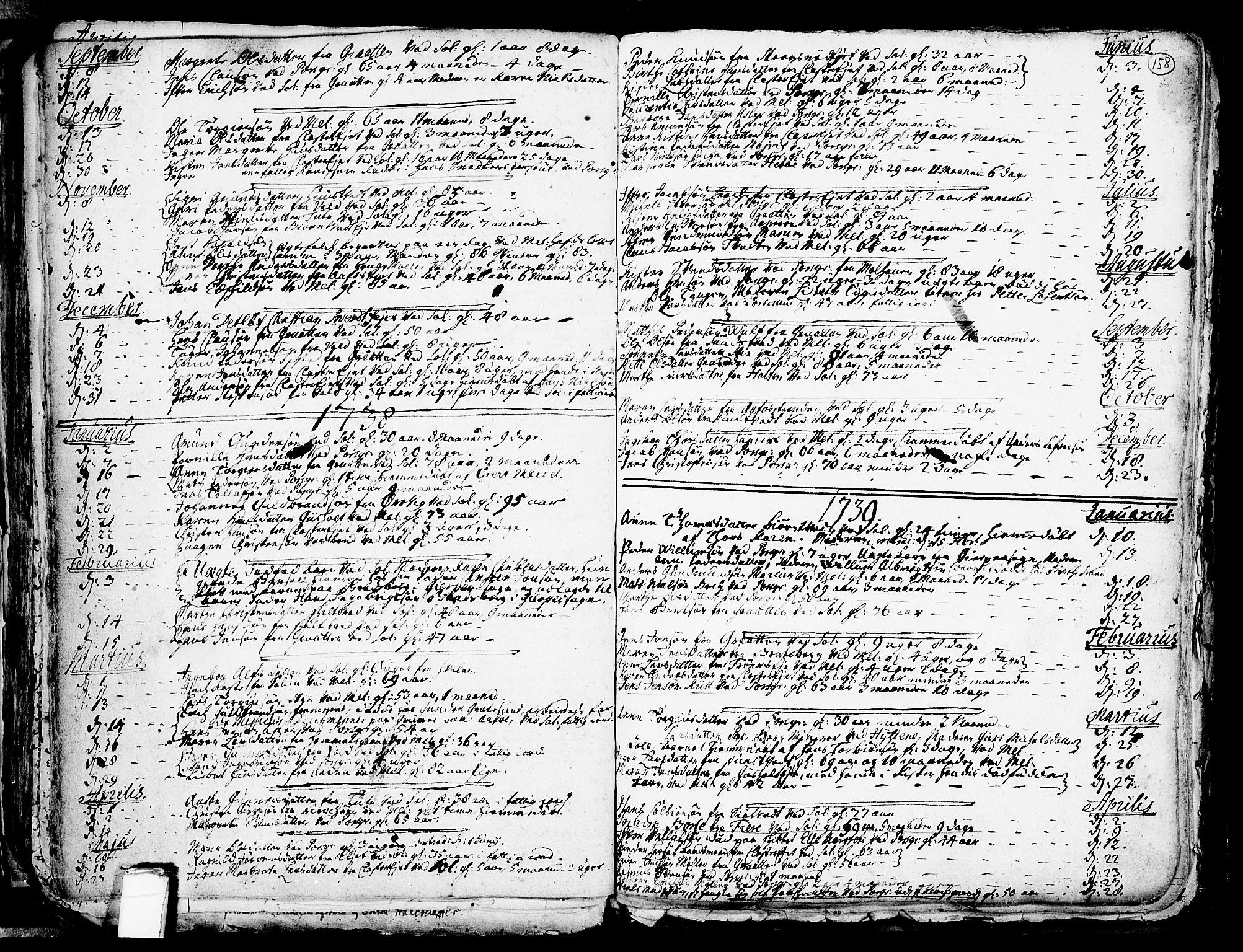 SAKO, Solum kirkebøker, F/Fa/L0002: Ministerialbok nr. I 2, 1713-1761, s. 158